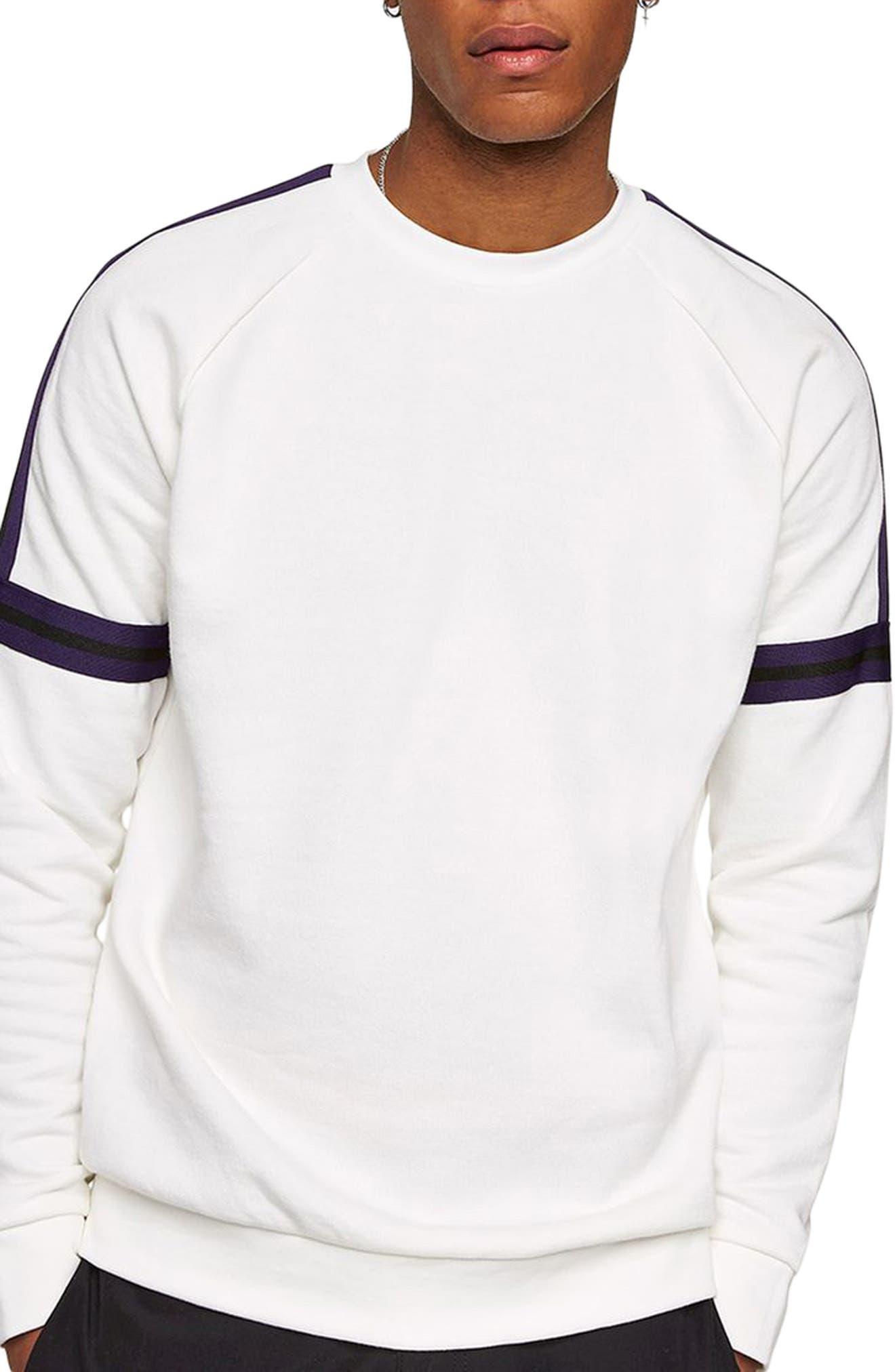 Tape Crewneck Sweatshirt,                         Main,                         color, Cream