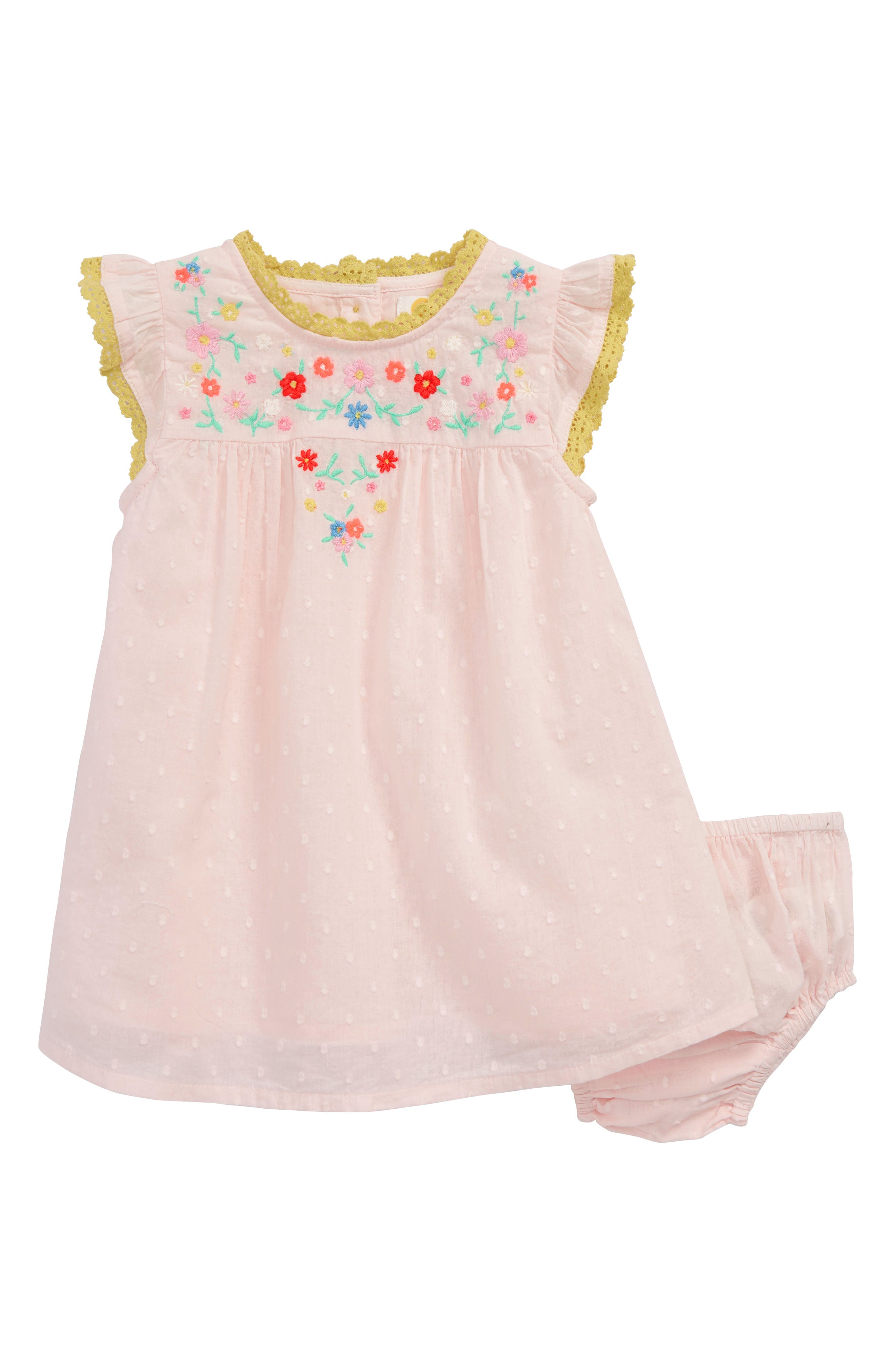 Pretty Frill Dress,                         Main,                         color, Mist Pink Embroidery