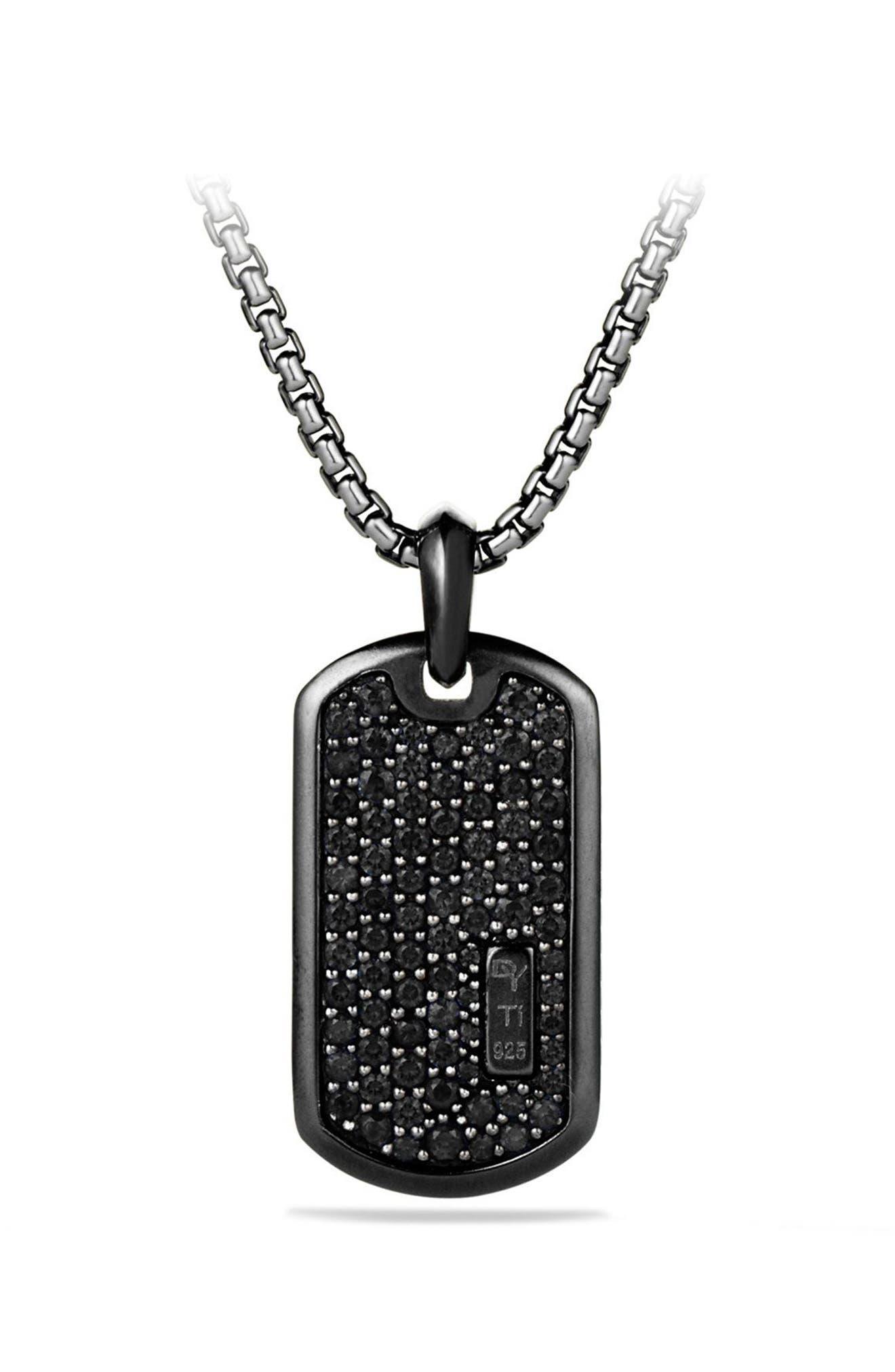 Pavé Tag with Black Diamonds and Black Titanium,                             Main thumbnail 1, color,                             Black Diamond
