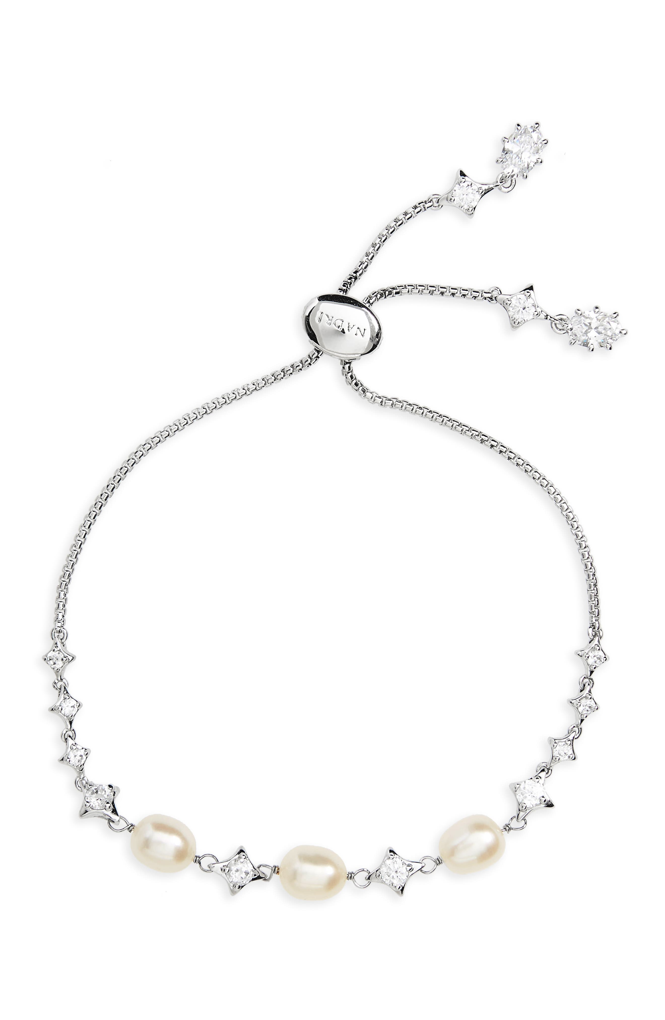 Crystal & Pearl Adjustable Bracelet,                             Main thumbnail 1, color,                             Silver/ White Pearl