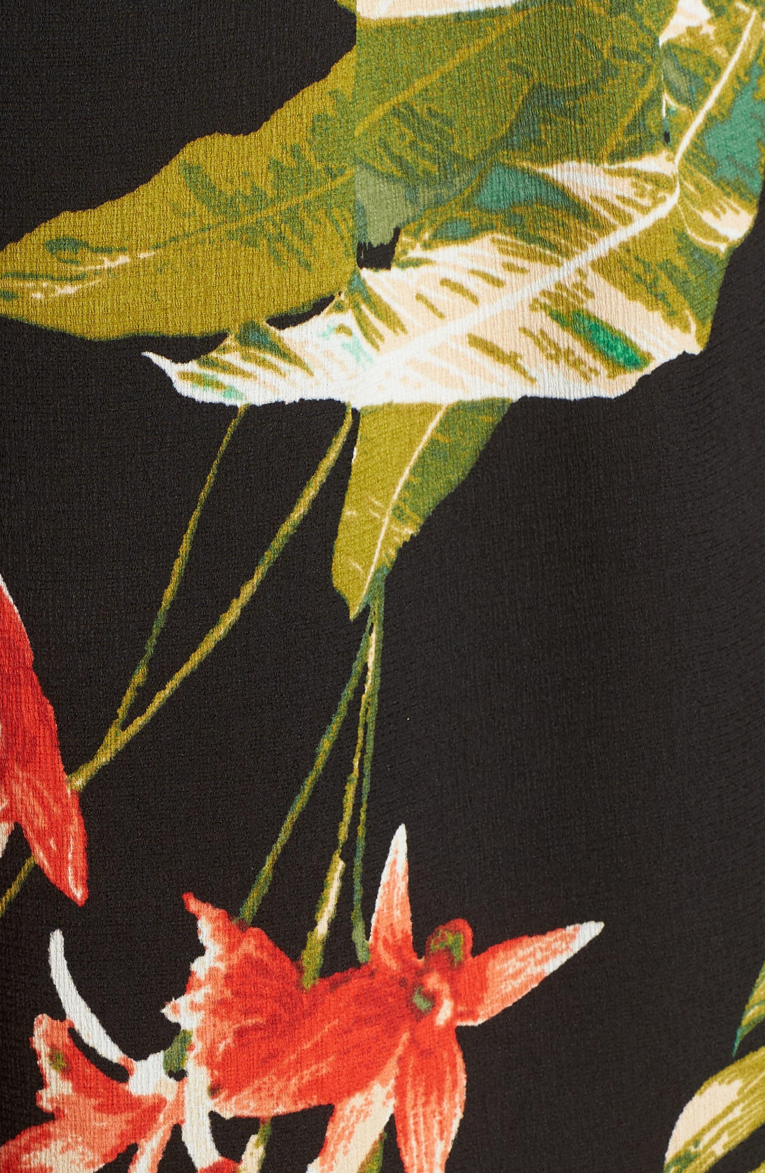 Tropical Print Culottes,                             Alternate thumbnail 7, color,                             Black Multi