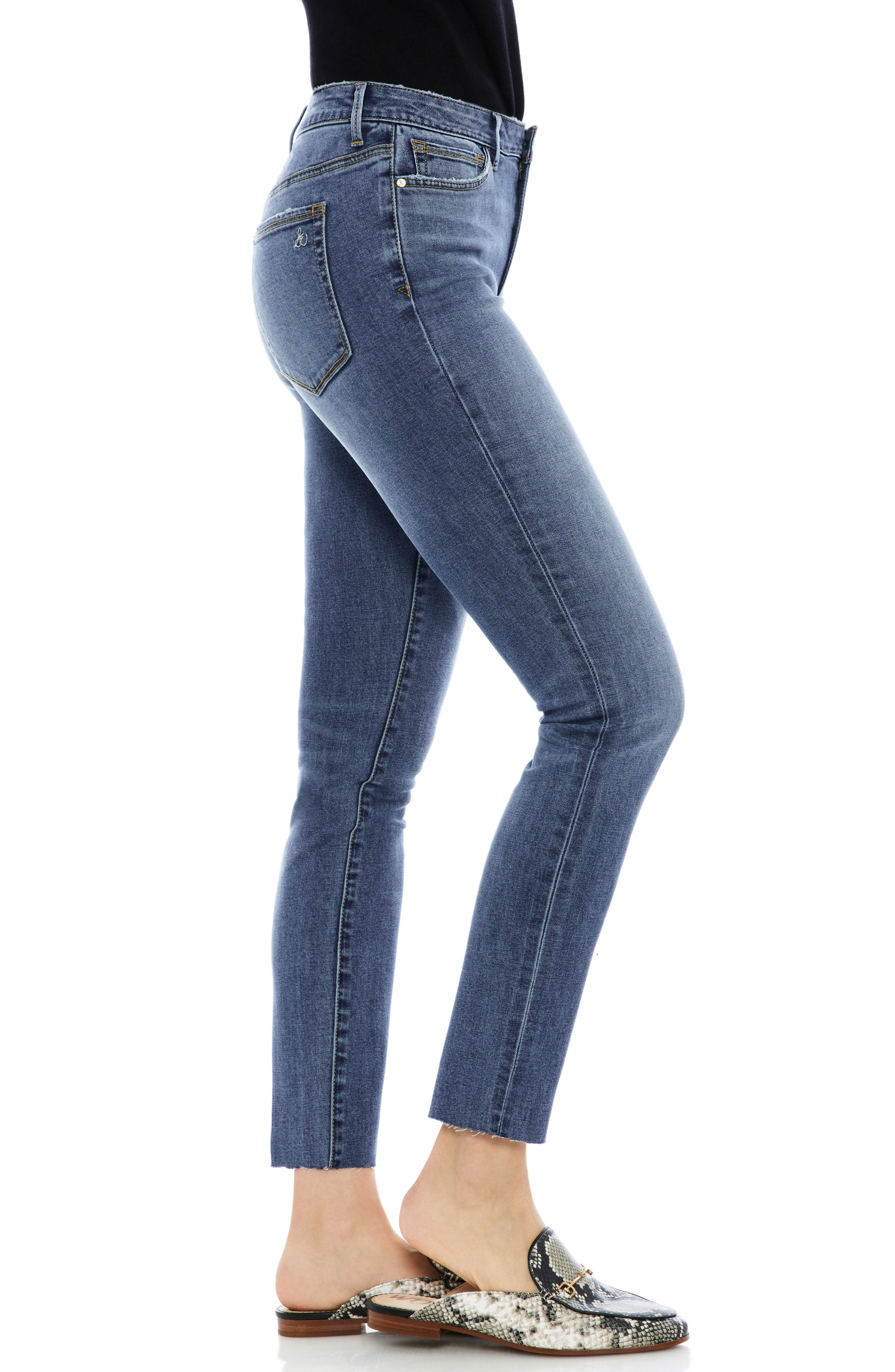 The Stiletto Raw Edge Skinny Jeans,                             Alternate thumbnail 3, color,                             Candice