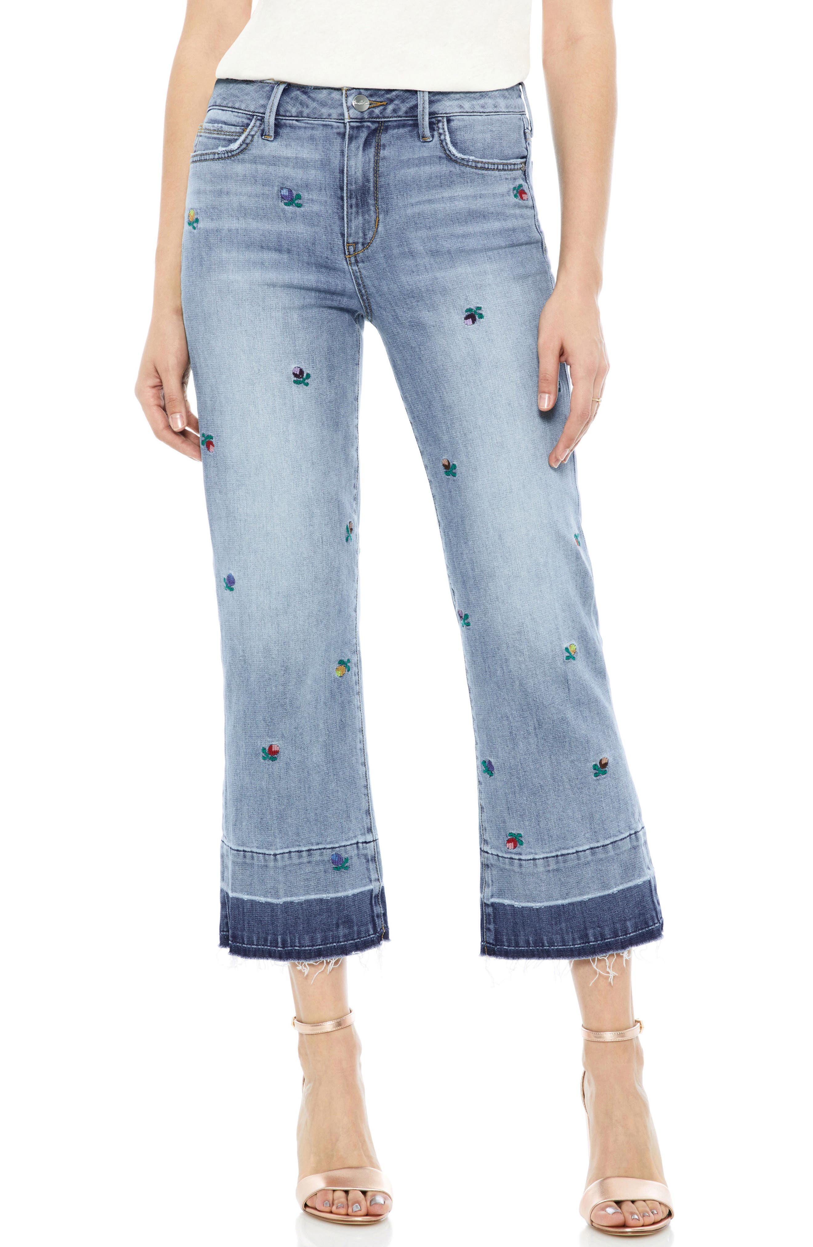 The Chelsea Embroidered Release Hem Wide Leg Jeans,                             Main thumbnail 1, color,                             Fannie