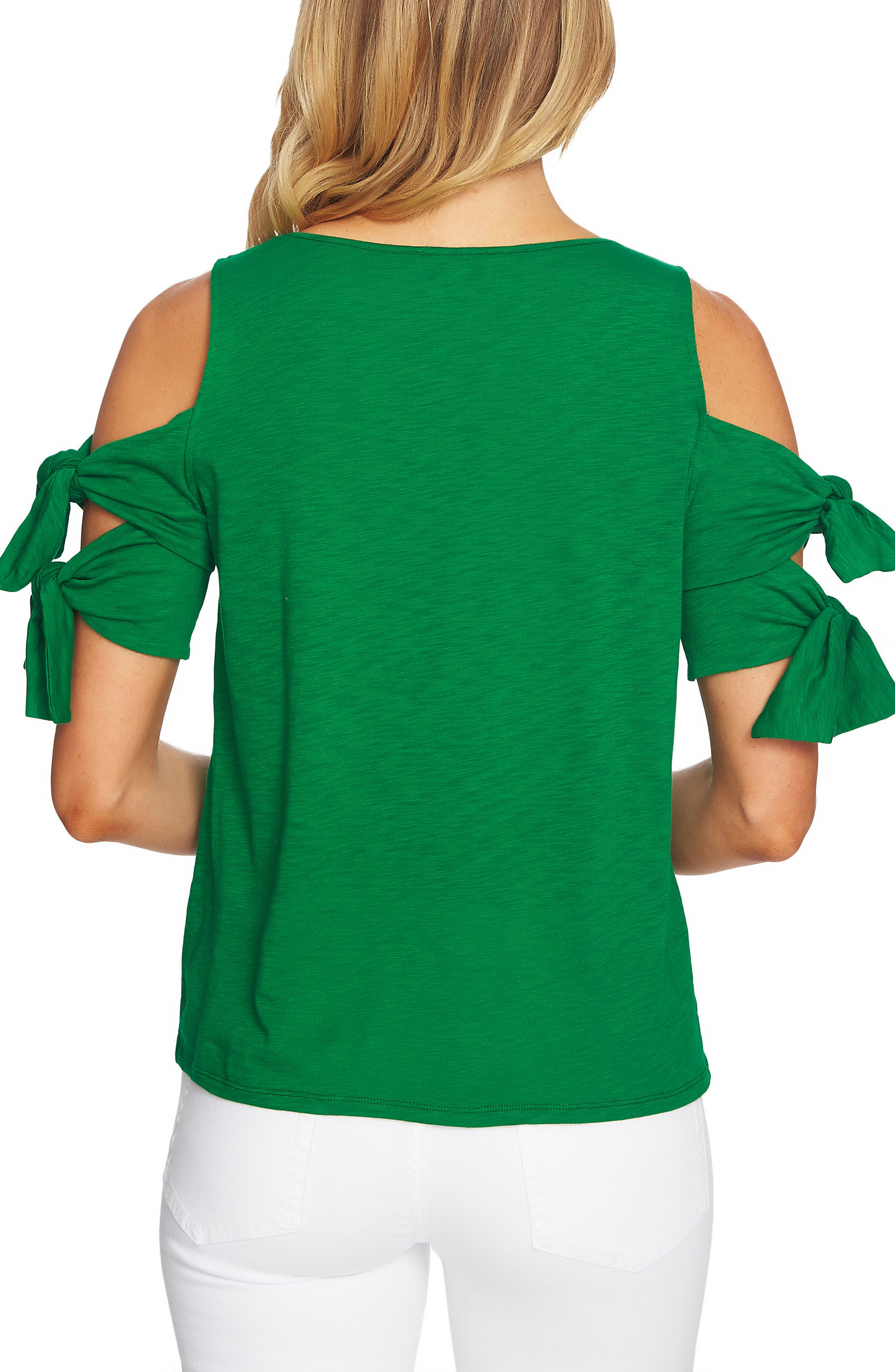 Cold Shoulder Double Tie Knit Top,                             Alternate thumbnail 2, color,                             Lush Green