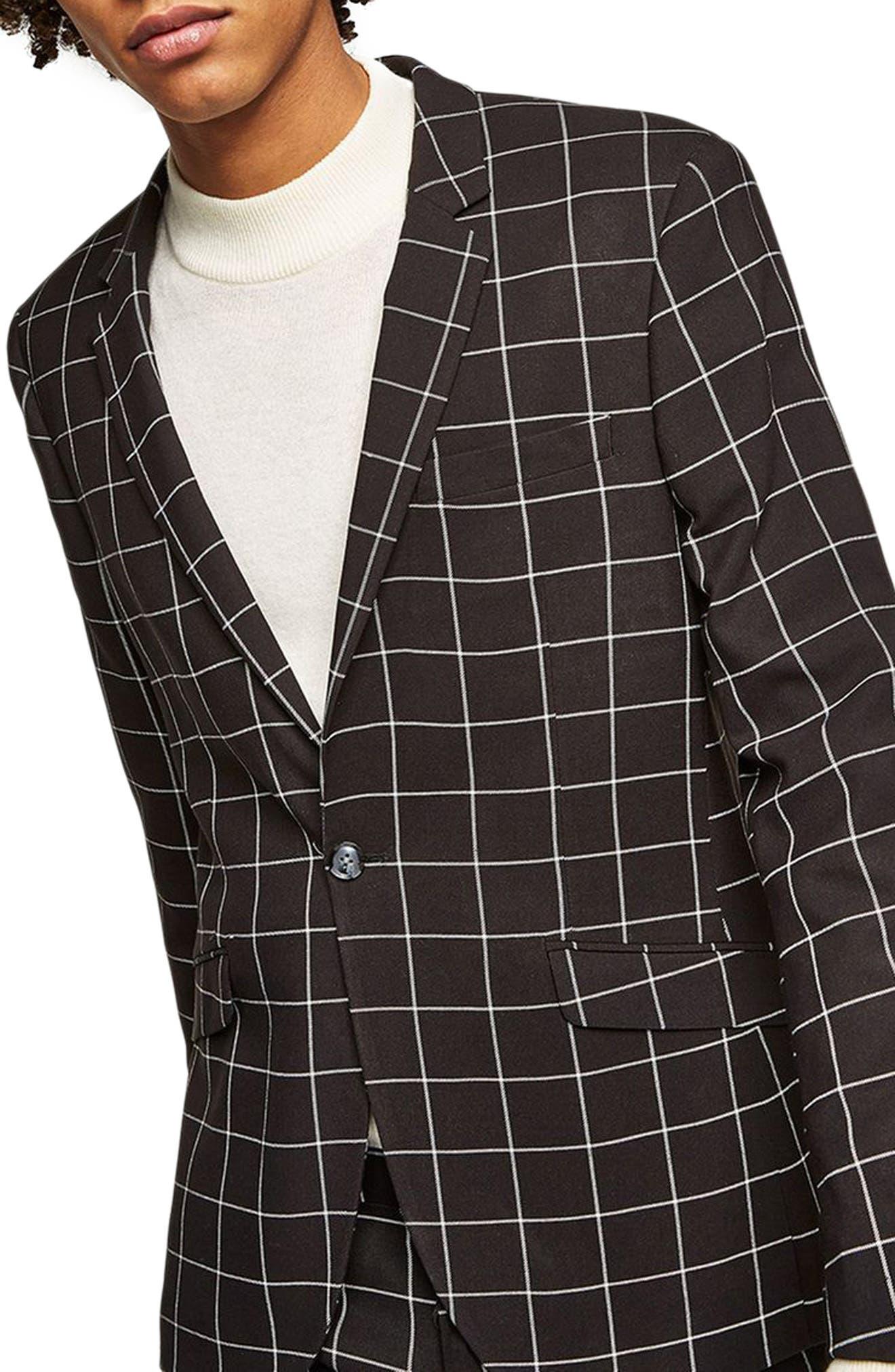 Skinny Fit Windowpane Suit Jacket,                         Main,                         color, Black Multi