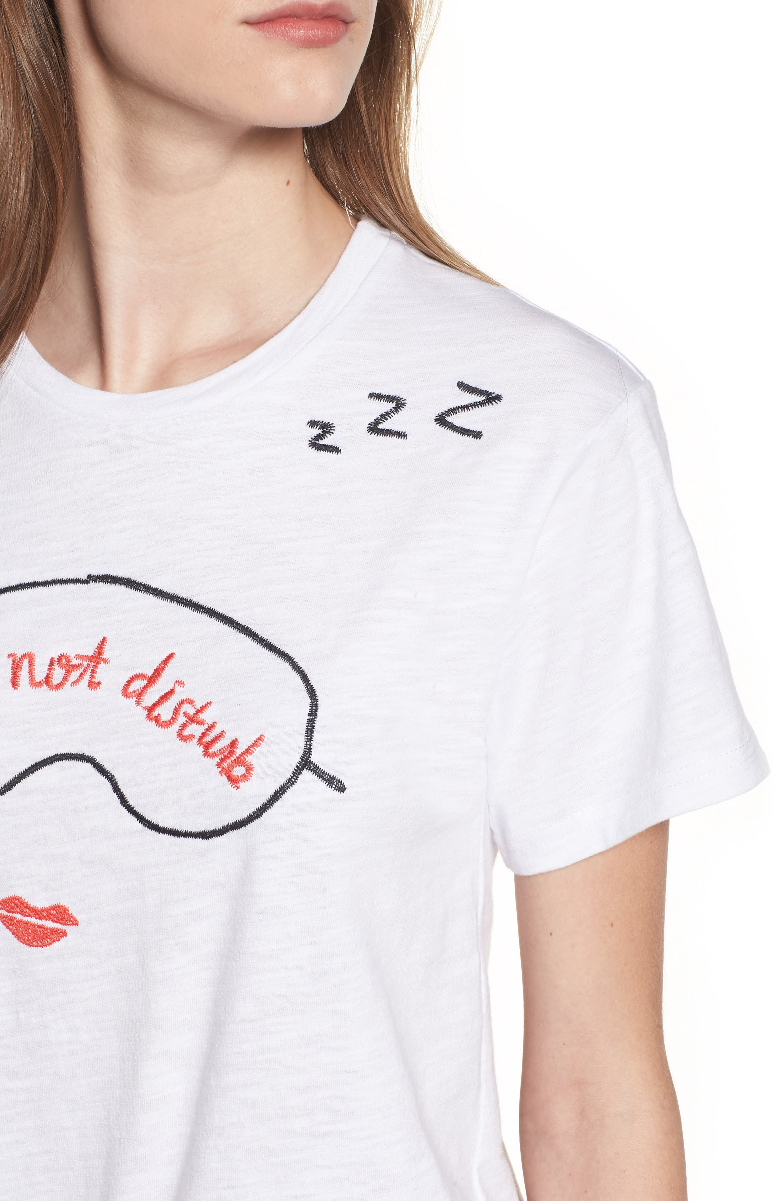 Sleeping Embroidered Tee,                             Alternate thumbnail 4, color,                             White