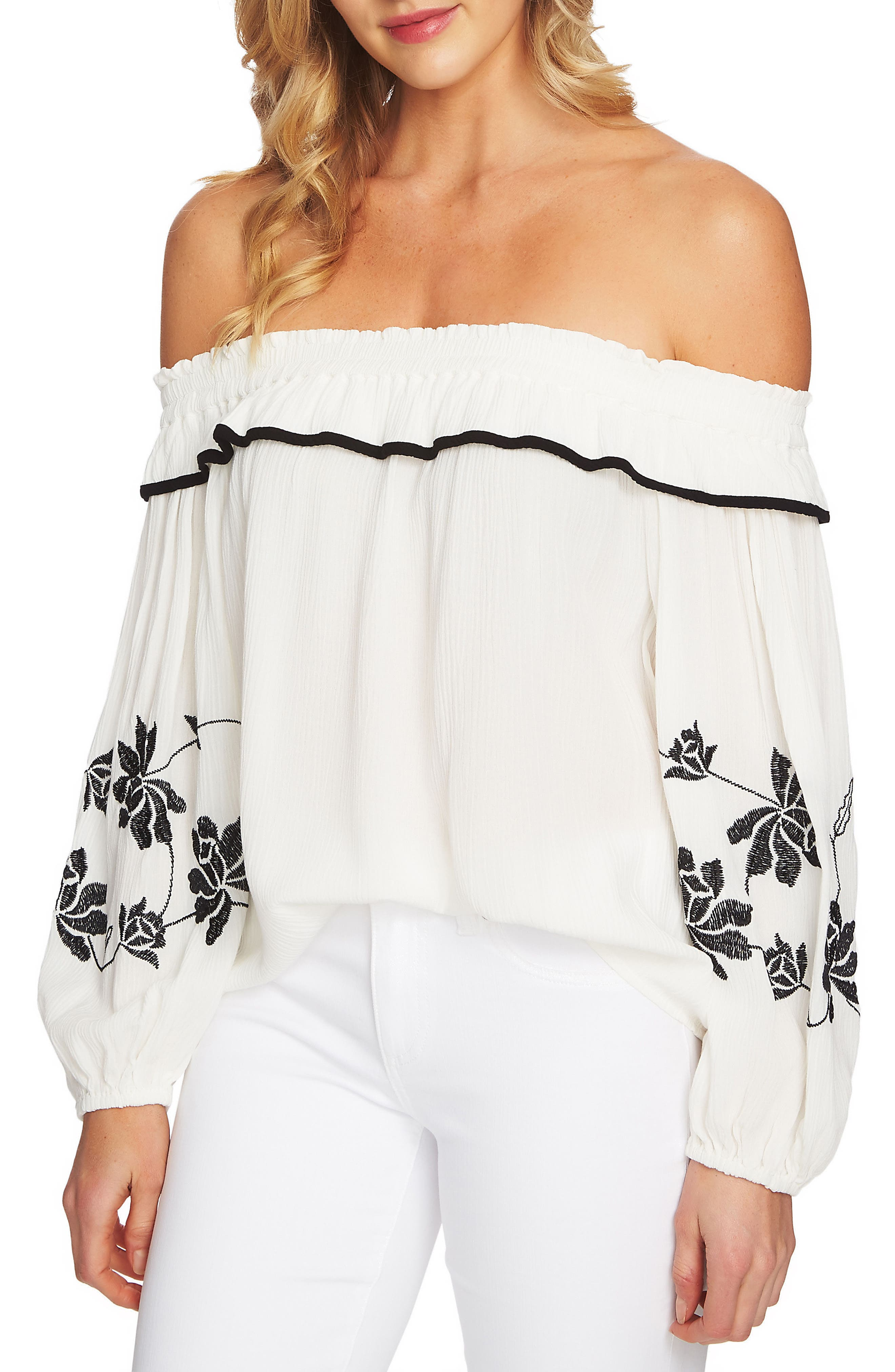 CeCe Off The Shoulder Embroidered Blouse