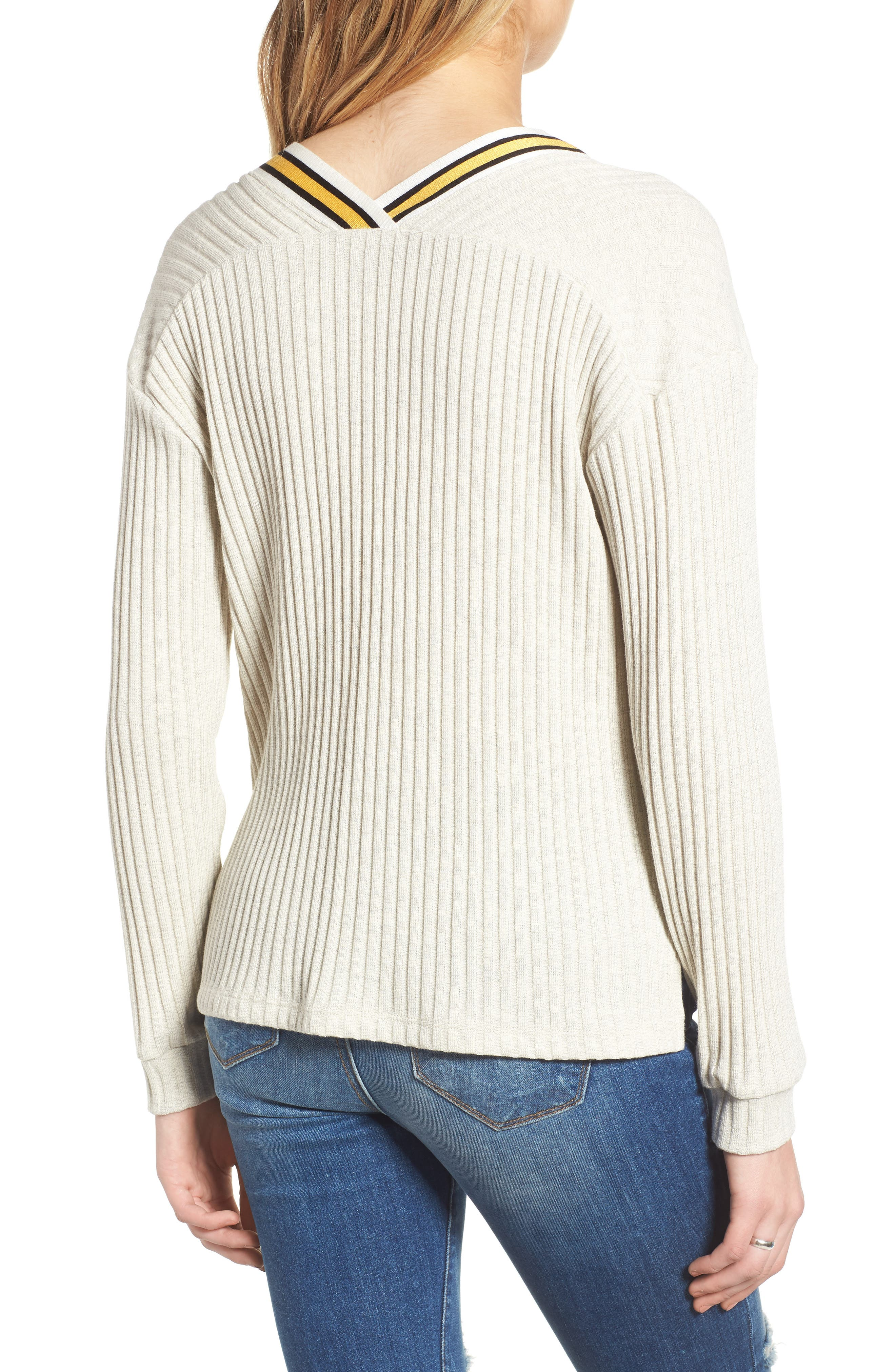 Varsity Stripe Ribbed Sweater,                             Alternate thumbnail 2, color,                             Oatmeal