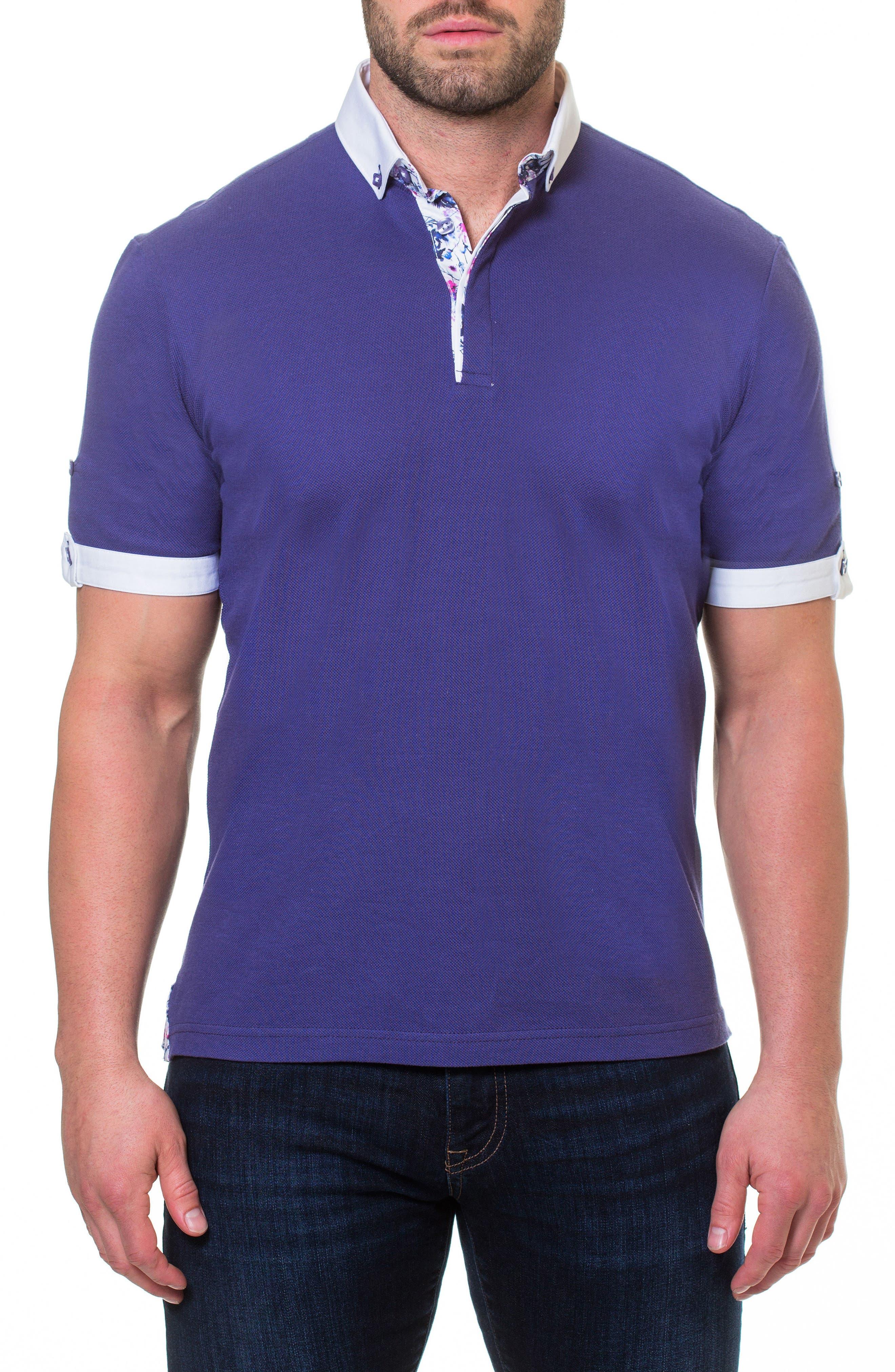 Woven Trim Polo,                             Main thumbnail 1, color,                             Purple
