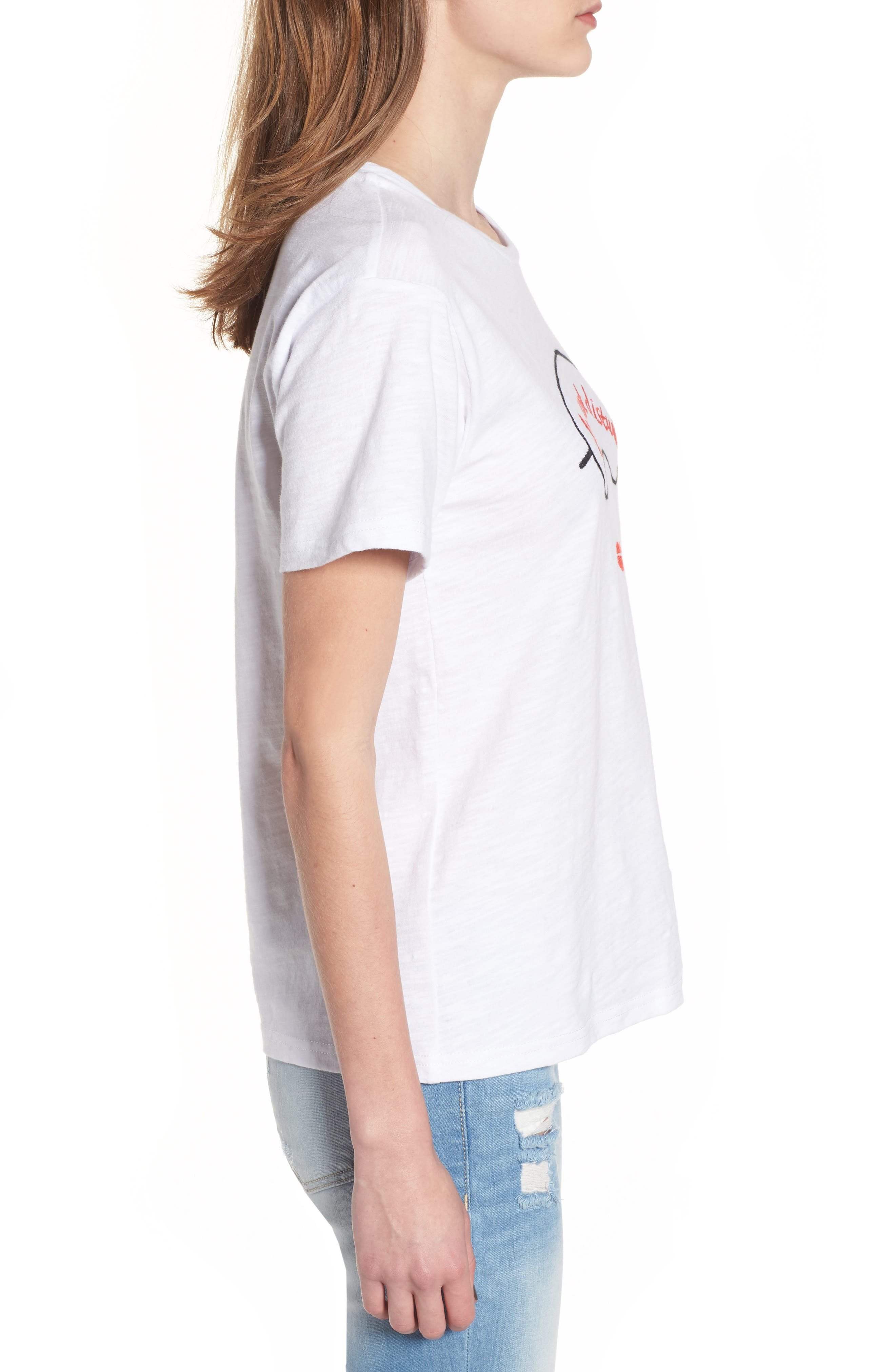Sleeping Embroidered Tee,                             Alternate thumbnail 3, color,                             White
