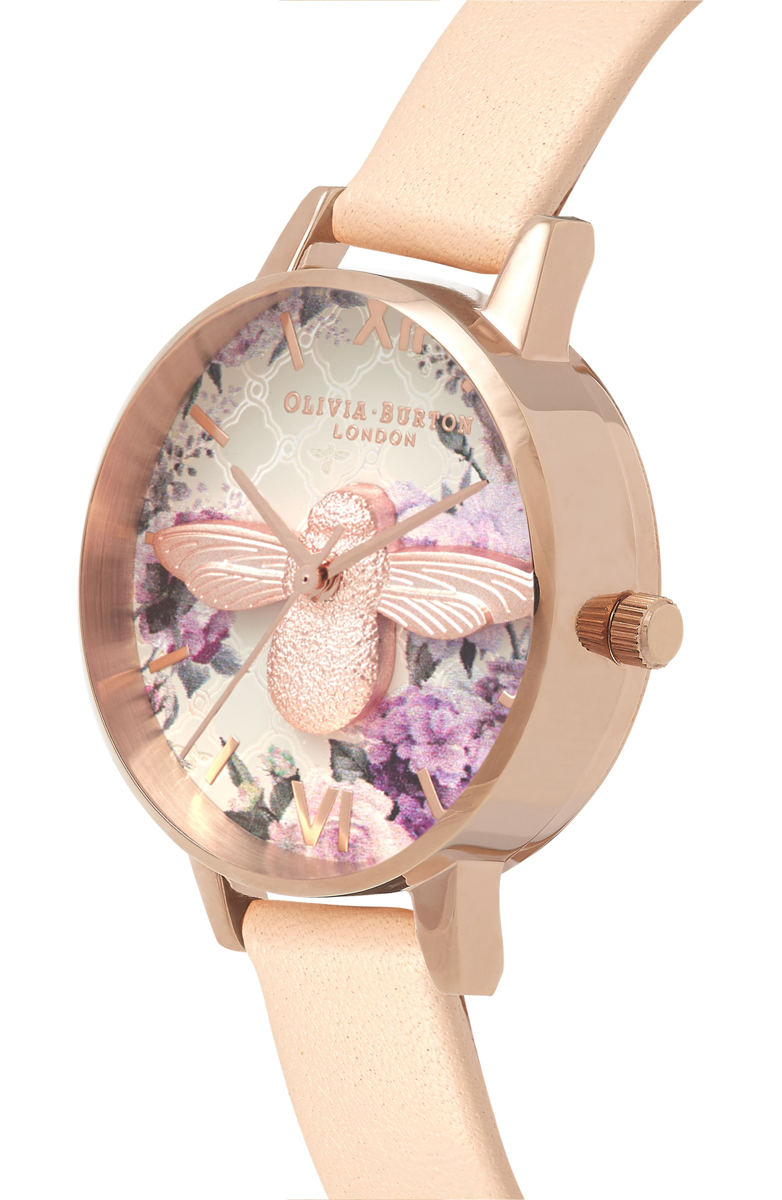 Glasshouse Leather Strap Watch, 30mm,                             Alternate thumbnail 3, color,                             Nude Peach/ Bee/ Rose Gold