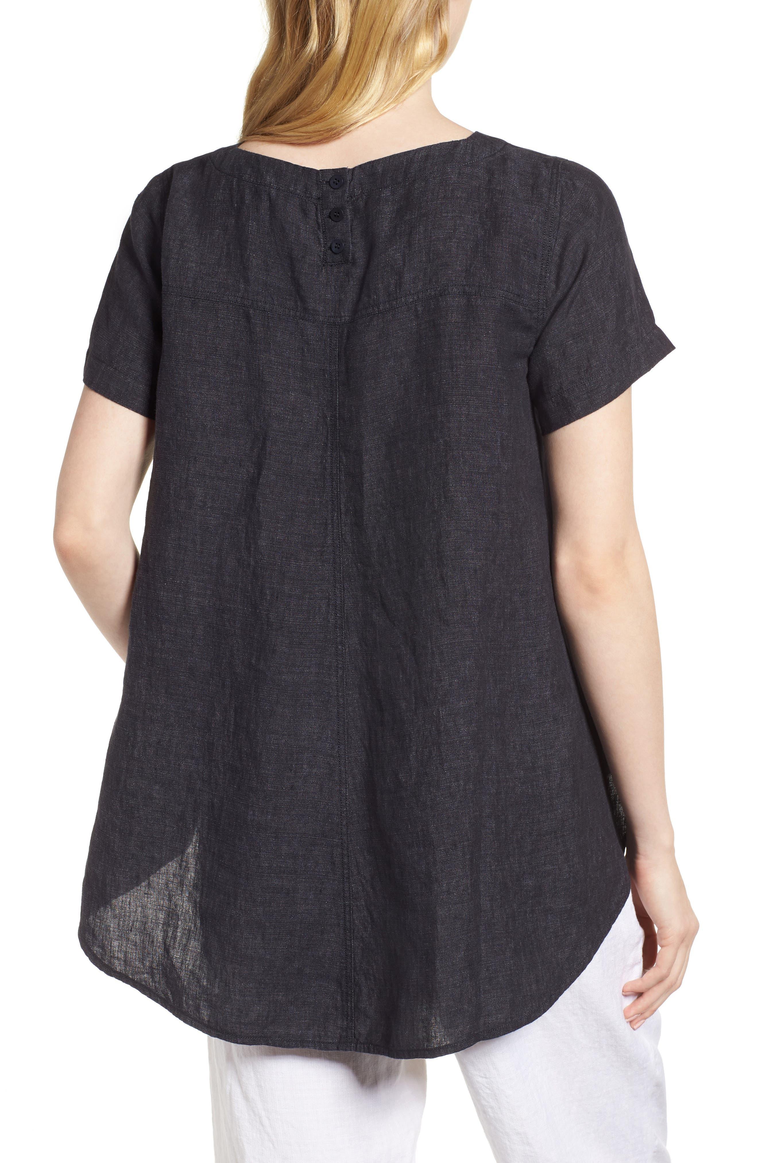 Short Sleeve Organic Linen Flutter Top,                             Alternate thumbnail 2, color,                             Denim