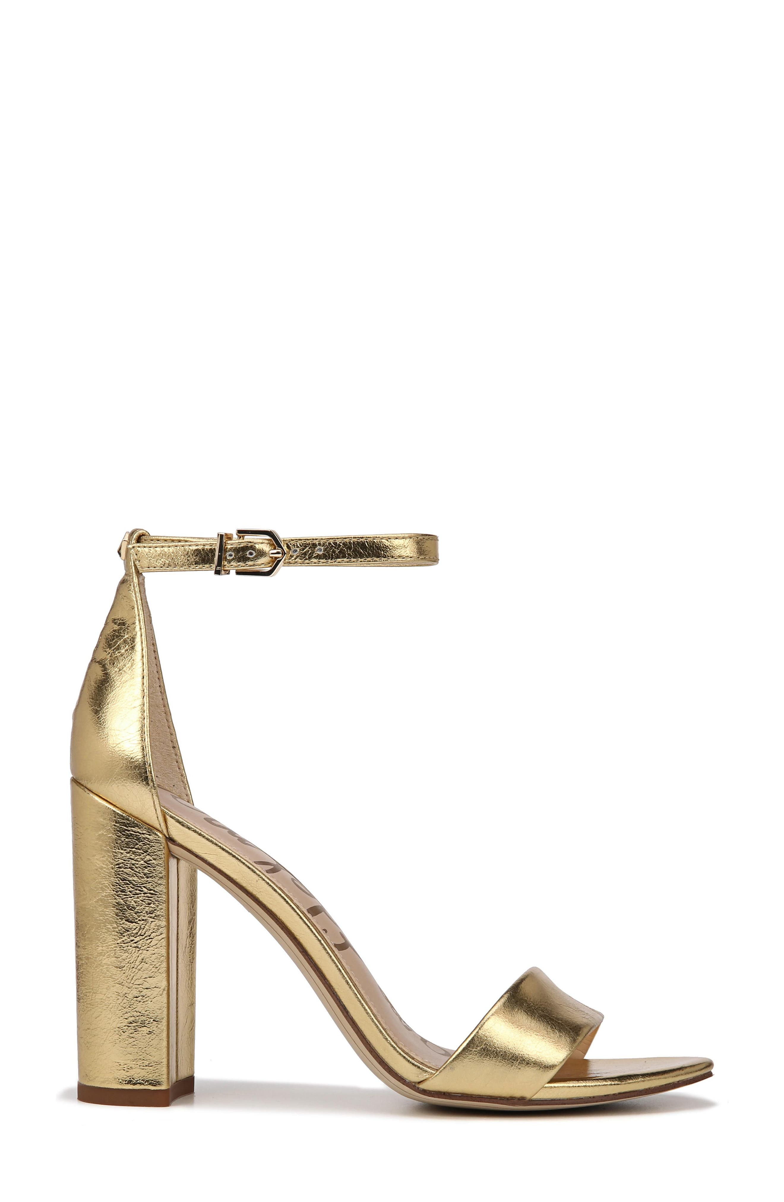 Yaro Ankle Strap Sandal,                             Alternate thumbnail 3, color,                             Bright Gold Leather