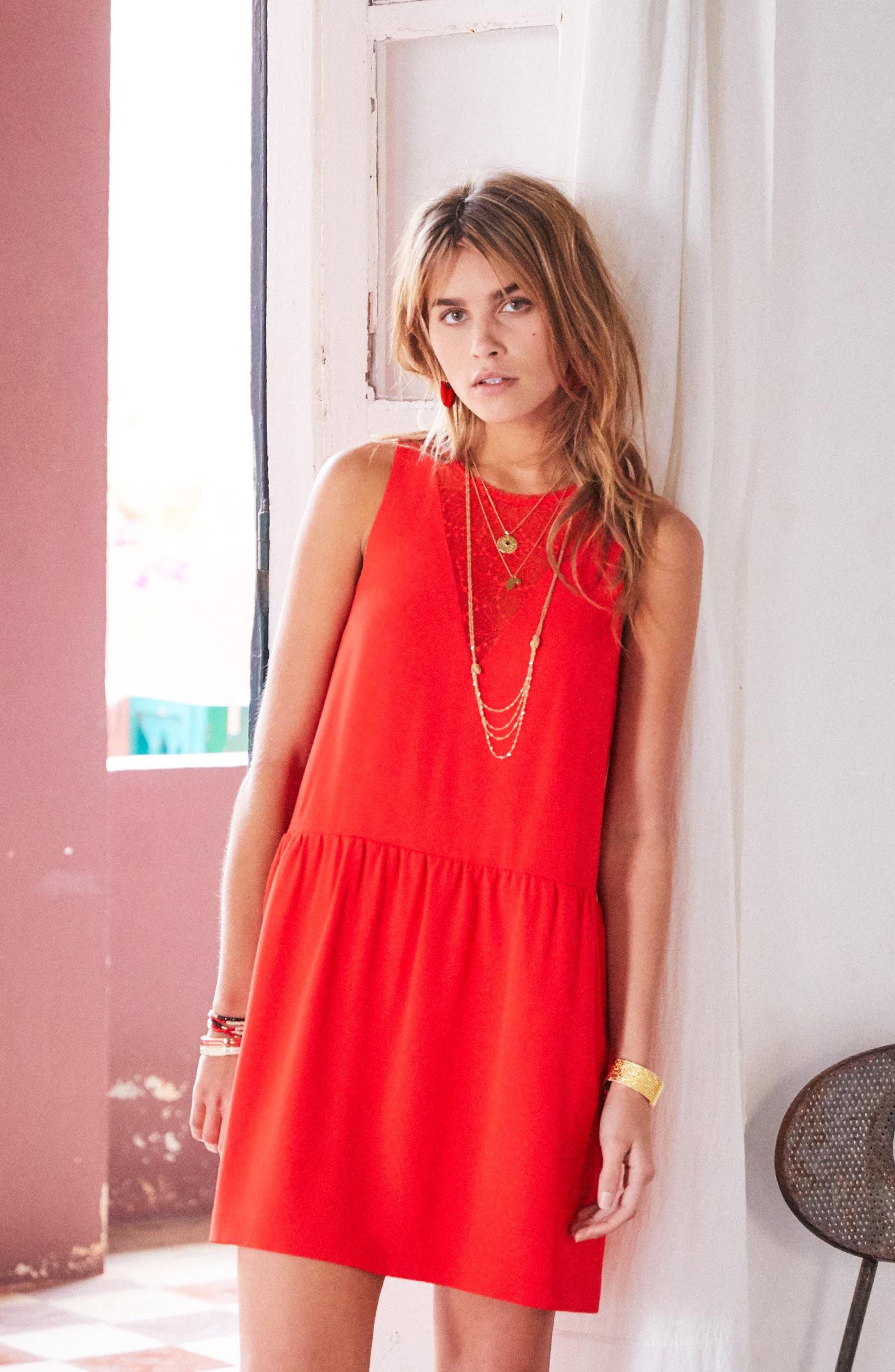 Rosalie Lace Detail Shift Dress,                             Alternate thumbnail 2, color,                             Coral Red