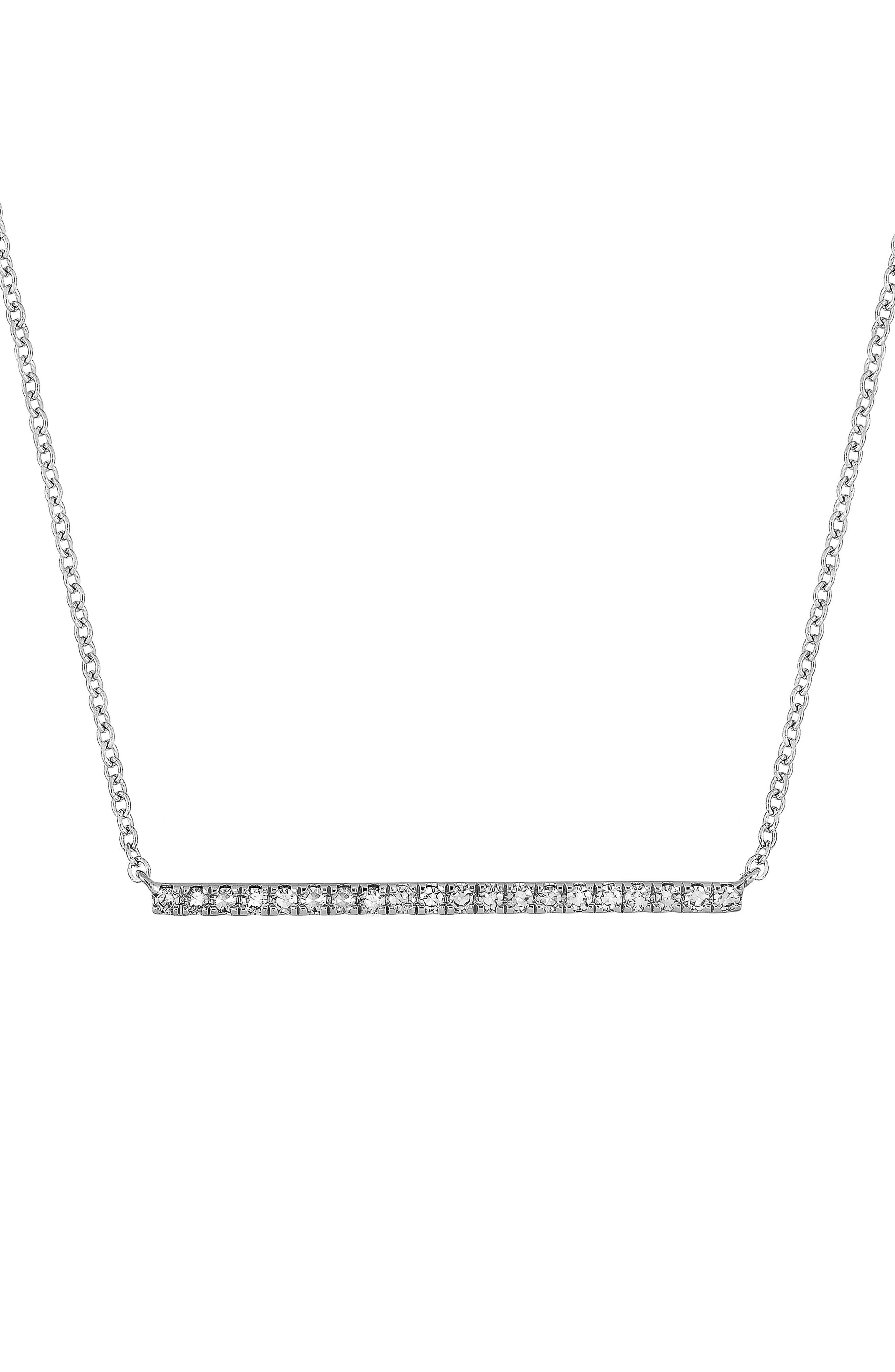 Carrière Diamond Bar Pendant,                         Main,                         color, Sterling Silver/ Diamond