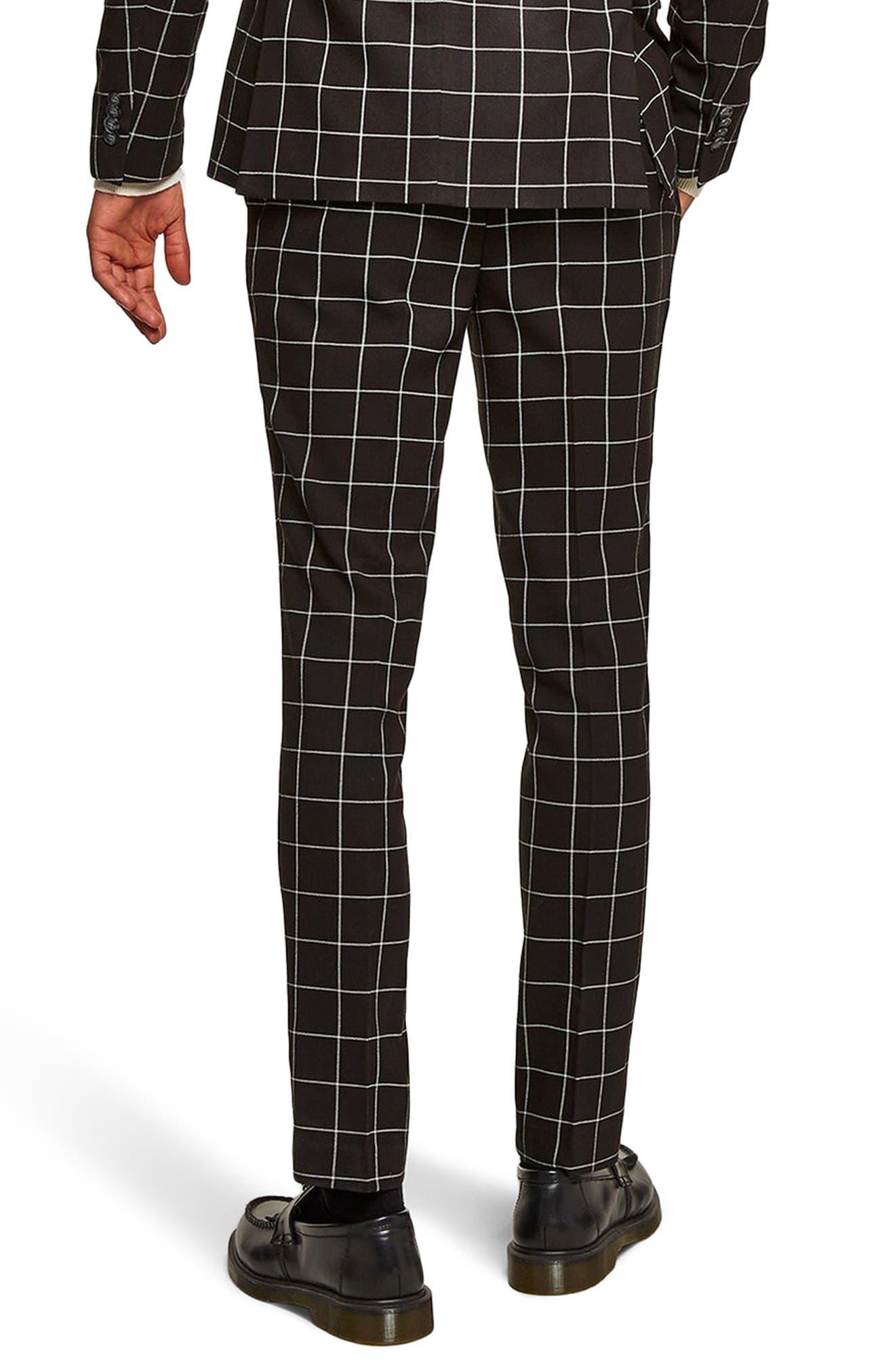 Skinny Fit Windowpane Suit Trousers,                             Alternate thumbnail 2, color,                             Black Multi