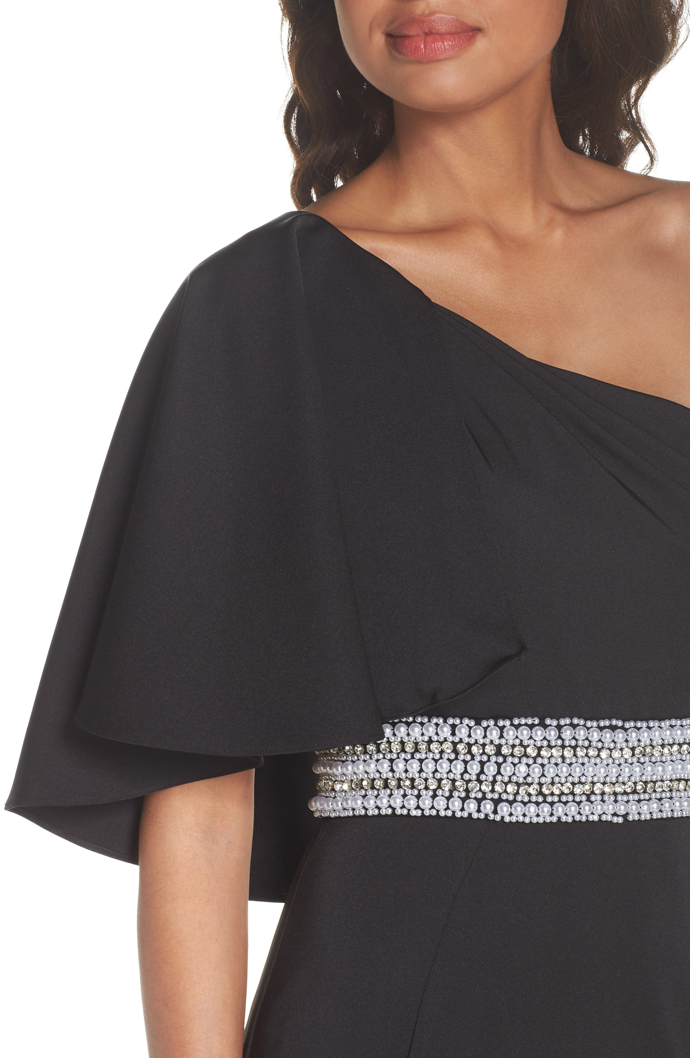 One-Shoulder Gown,                             Alternate thumbnail 4, color,                             Black