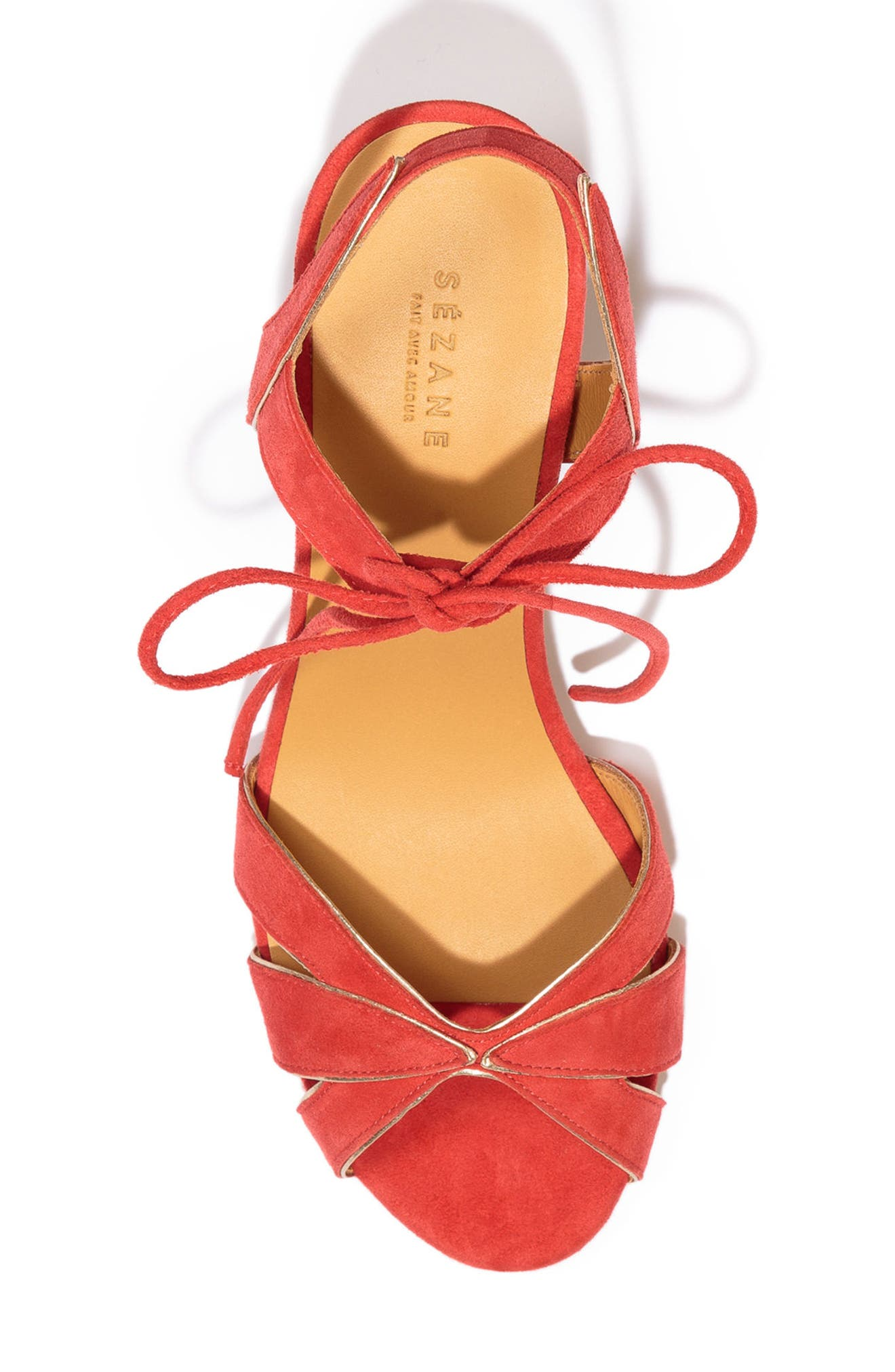 Victoire Ankle Tie Sandal,                             Alternate thumbnail 4, color,                             Coral Red Suede