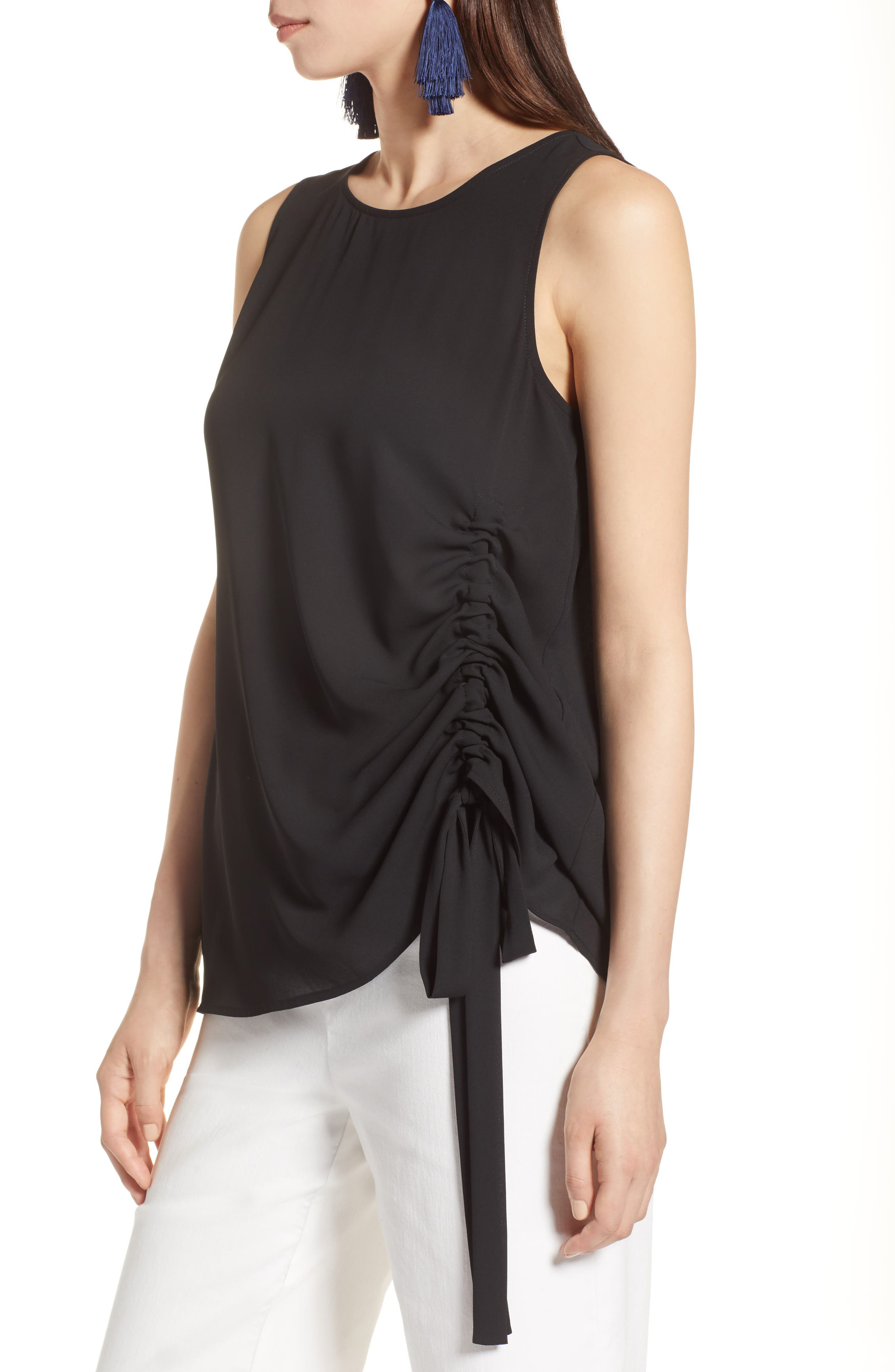Side Ruched Top,                             Alternate thumbnail 3, color,                             Black