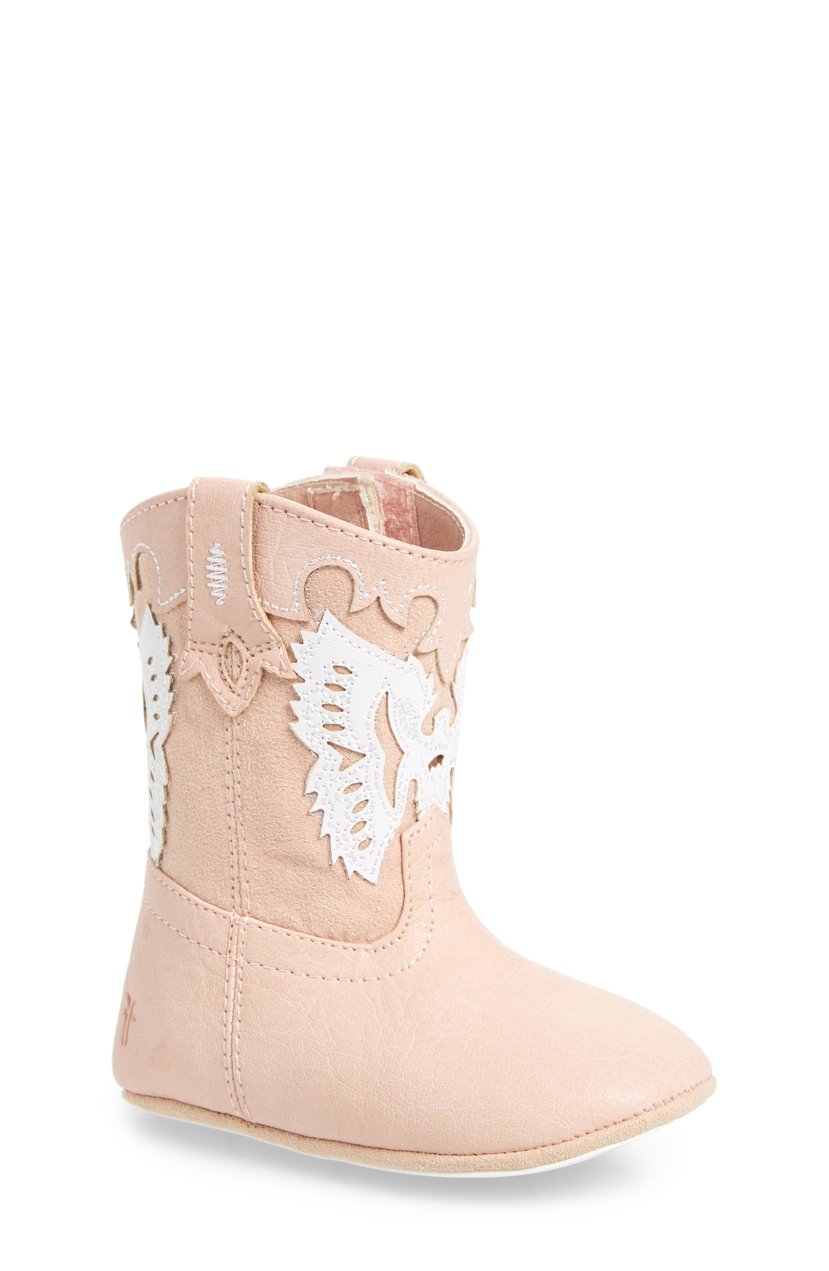Baby Firebird Western Crib Bootie,                             Main thumbnail 1, color,                             Baby Pink