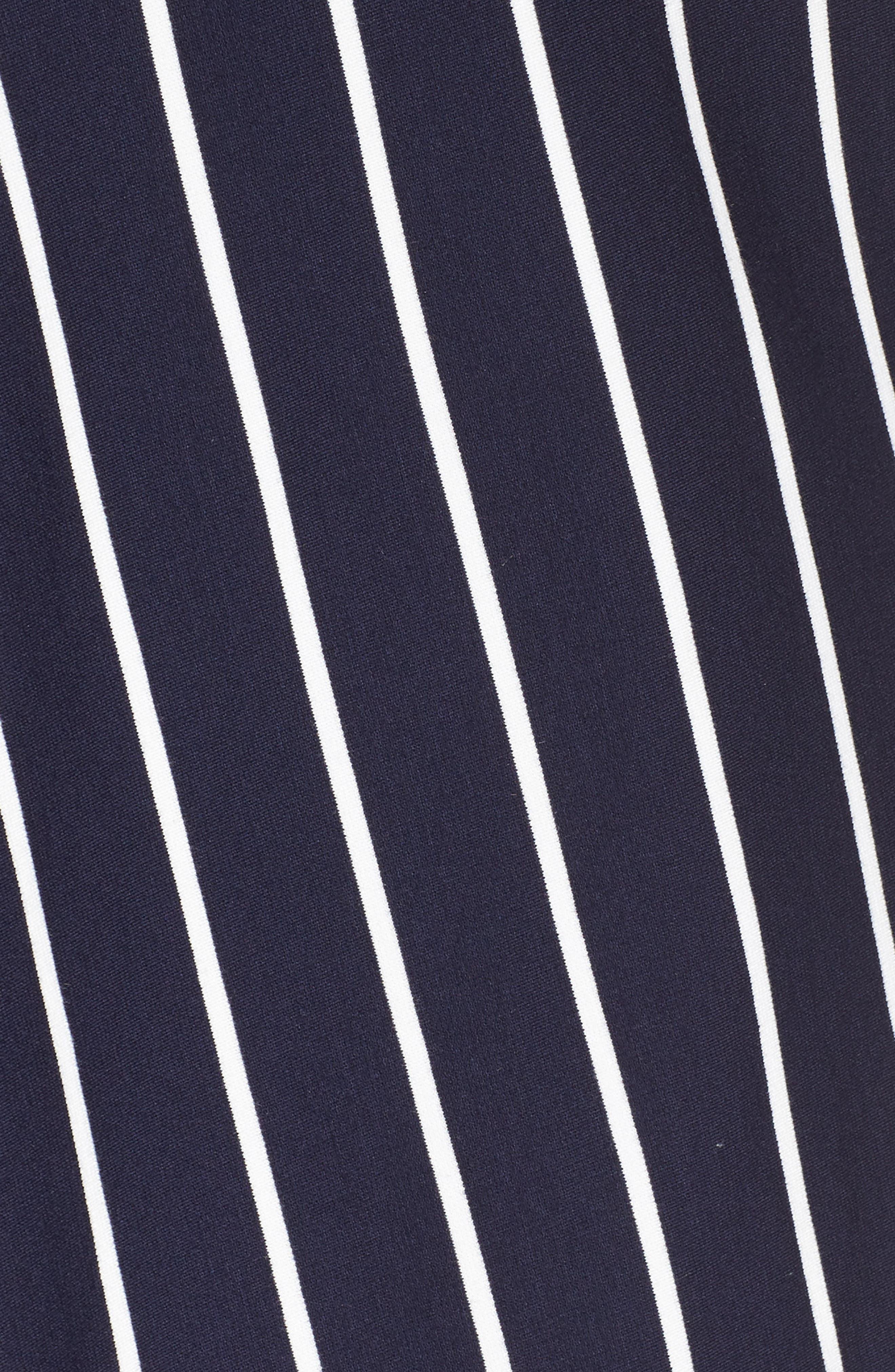 Stripe Ponte Fit & Flare Dress,                             Alternate thumbnail 5, color,                             Navy- White Stripe