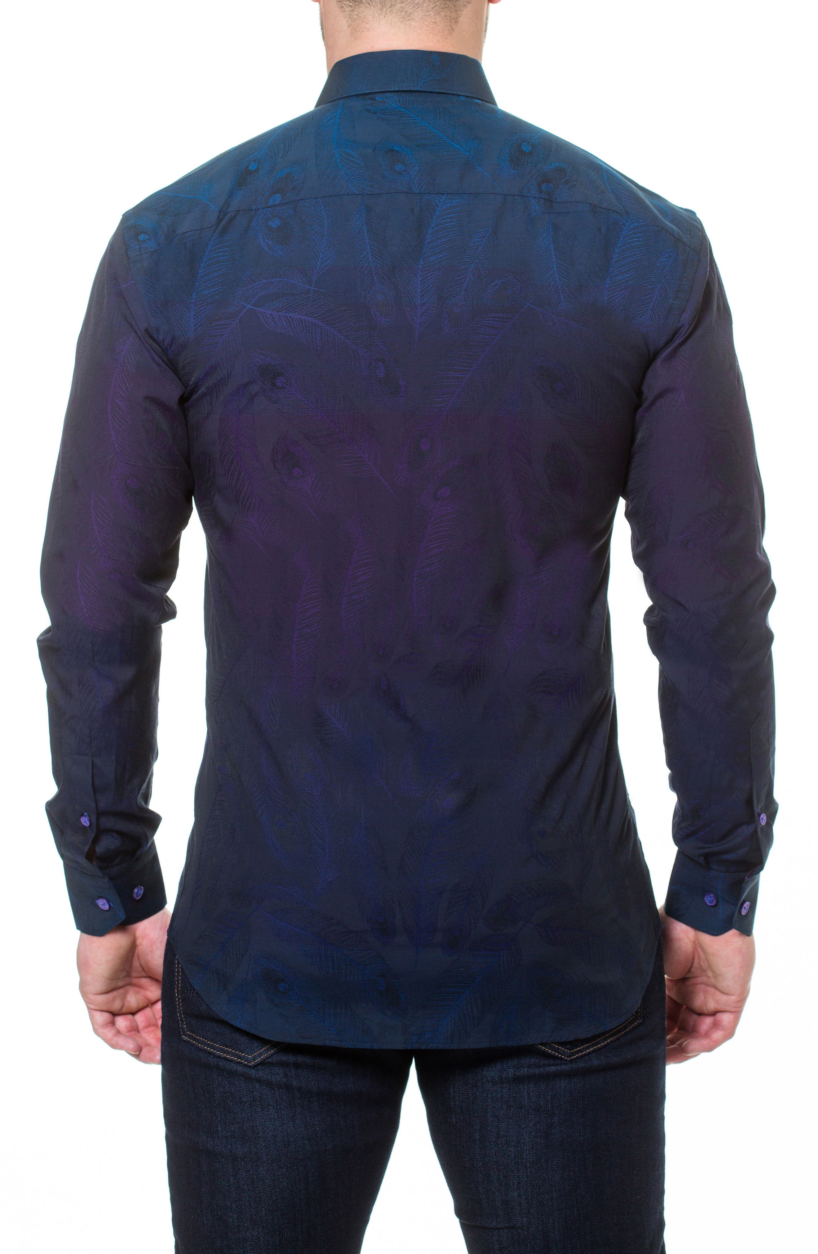 Wall Street Peacock Slim Fit Sport Shirt,                             Alternate thumbnail 2, color,                             Purple