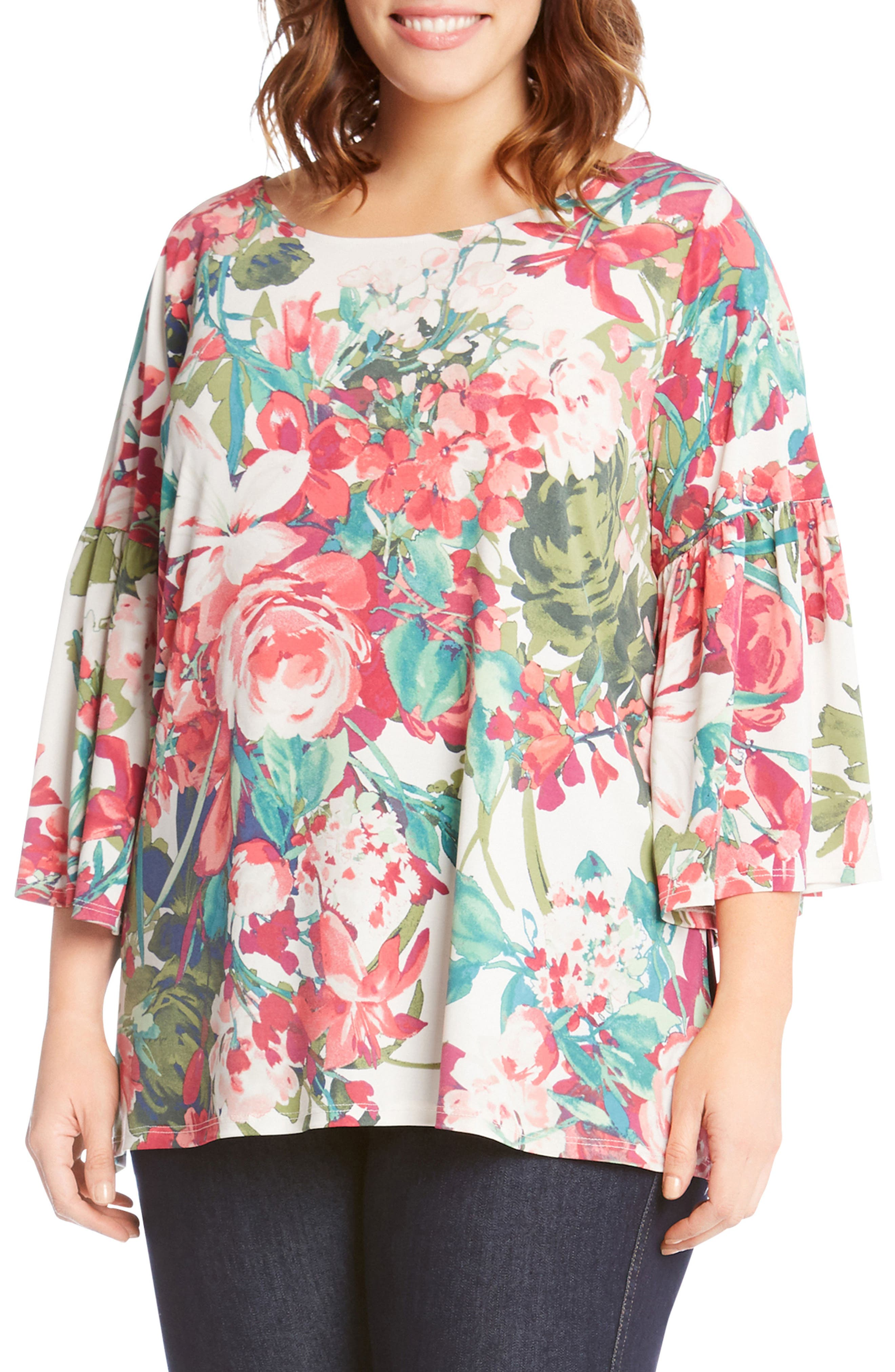 Bell Sleeve Floral Top,                             Main thumbnail 1, color,                             Print