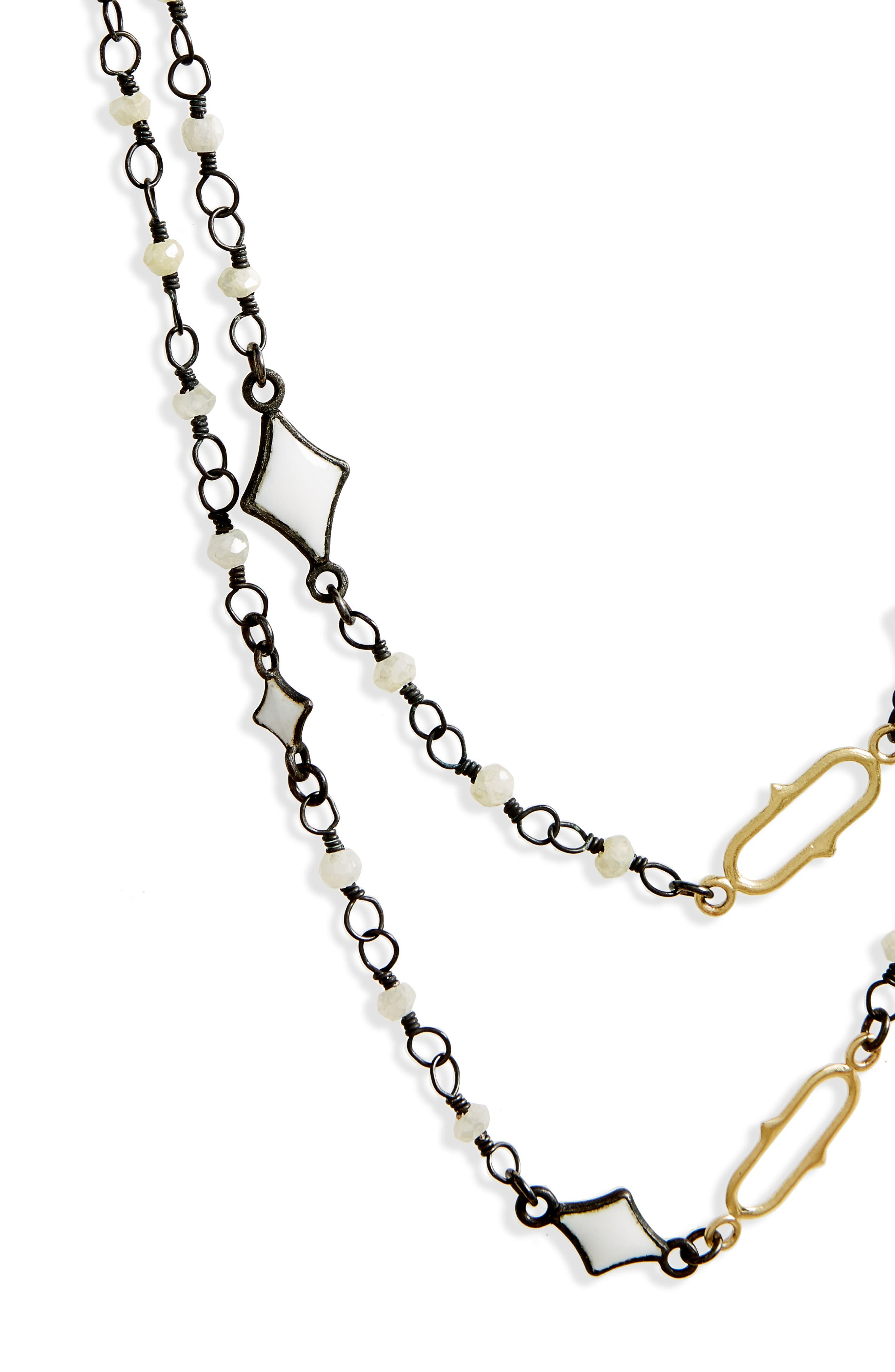 Old World Enamel Chain Necklace,                             Alternate thumbnail 3, color,                             Blackened Silver