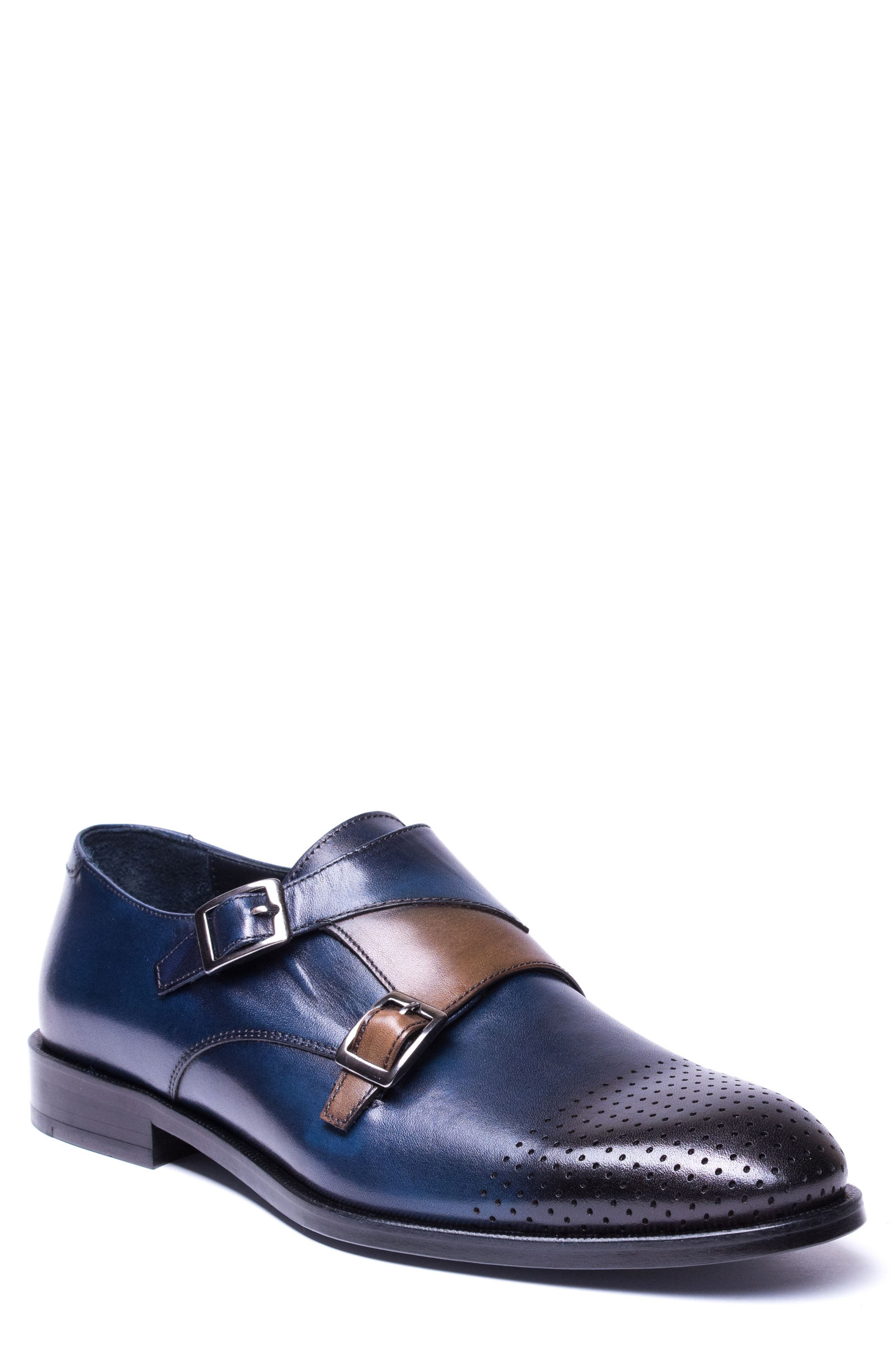 Double Buckle Monk Shoe,                         Main,                         color, Navy Leather