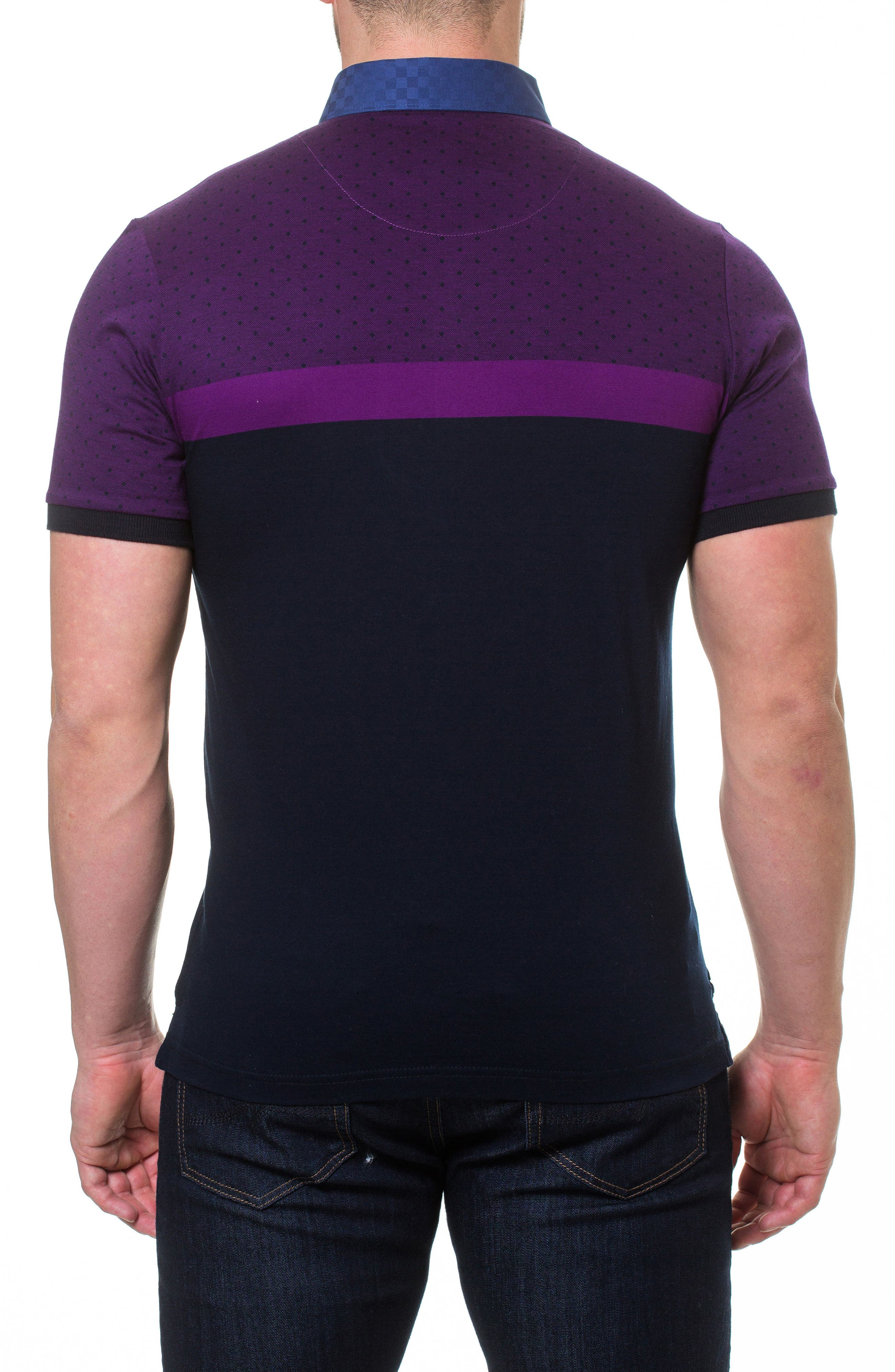 Diamond Woven Trim Polo,                             Alternate thumbnail 2, color,                             Purple