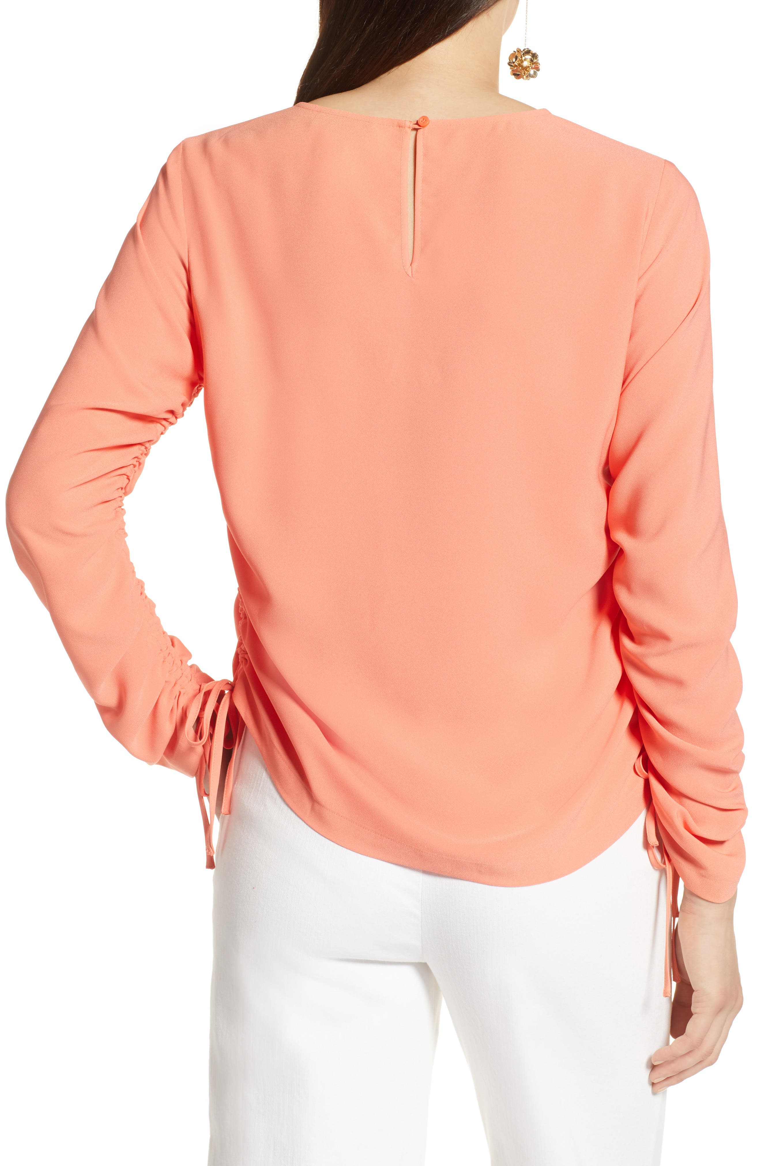 Cinched Sleeve Blouse,                             Alternate thumbnail 2, color,                             Coral Ocean