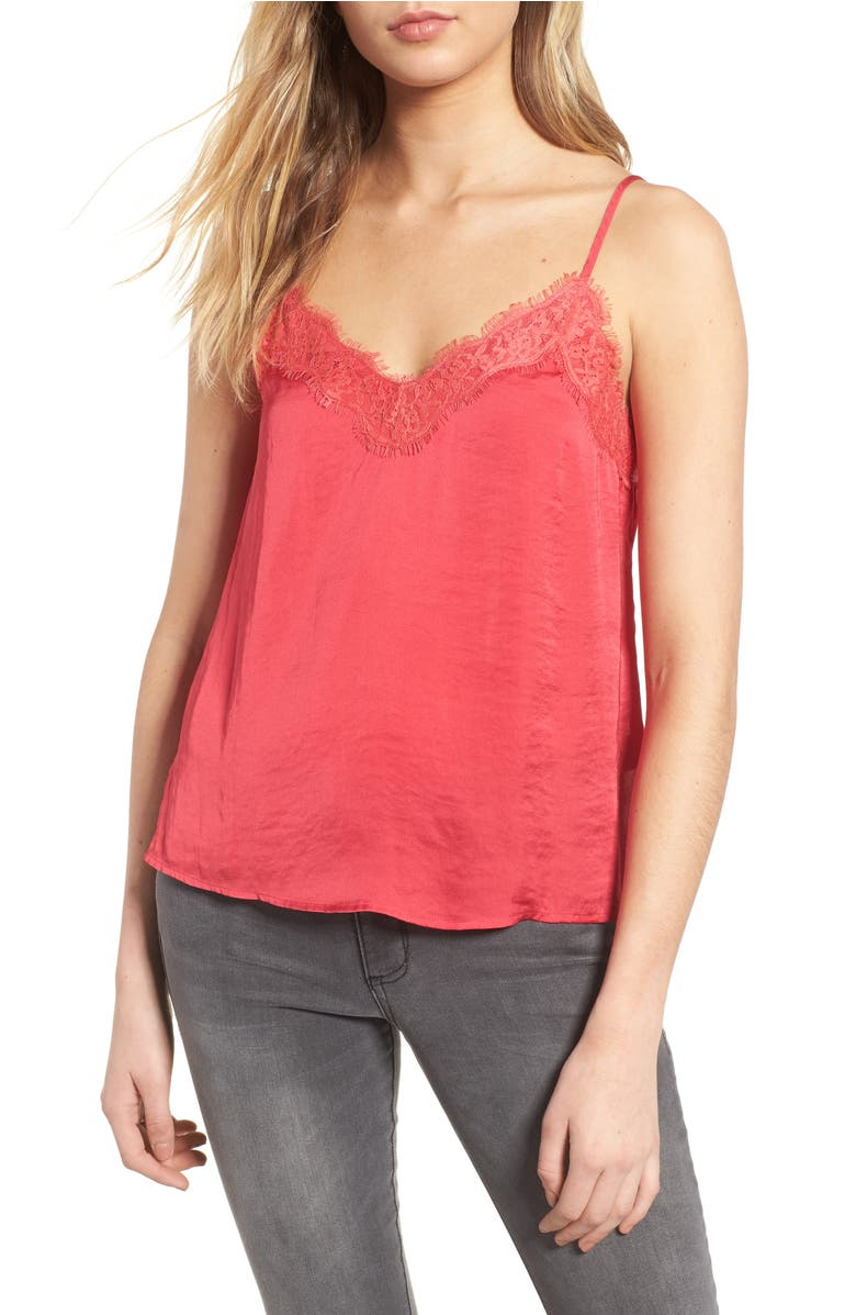 Lace Trim Satin Camisole, Main, color, Pink Rose