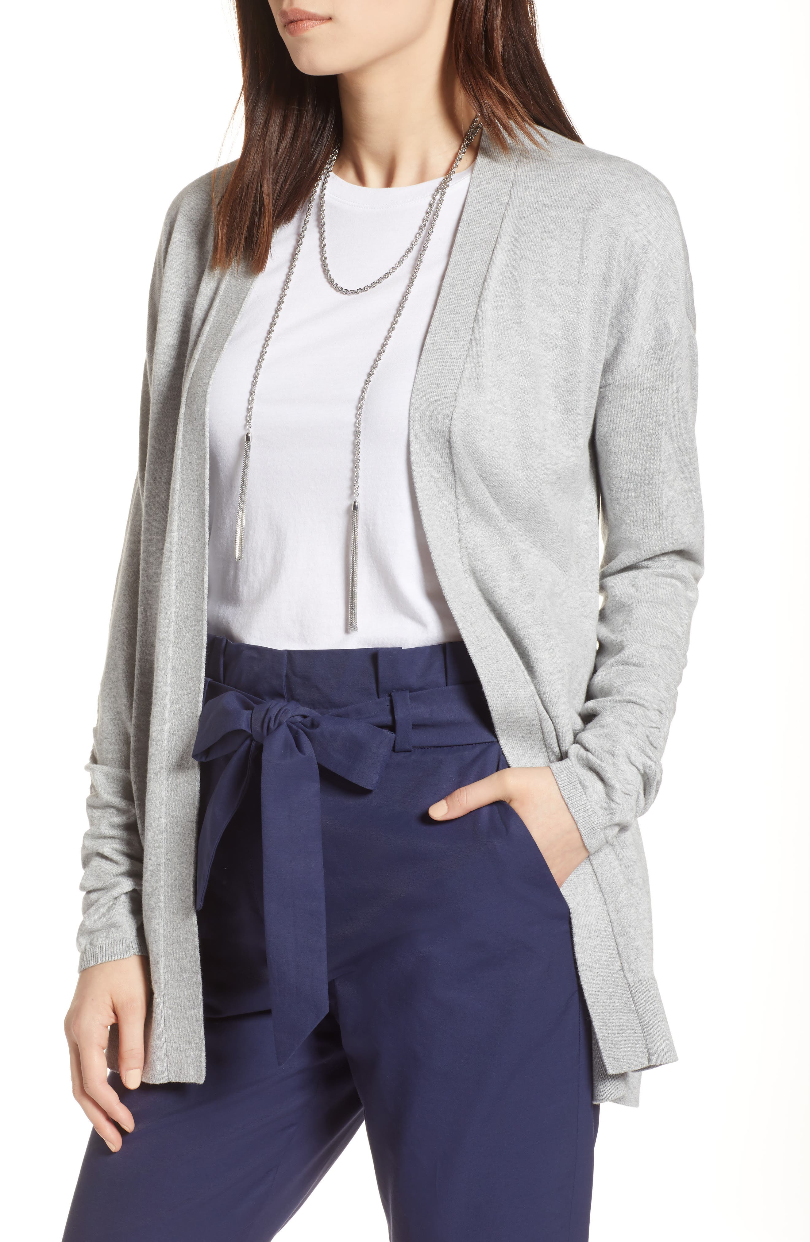 Ruched Sleeve Cardigan,                             Main thumbnail 1, color,                             Grey Heather