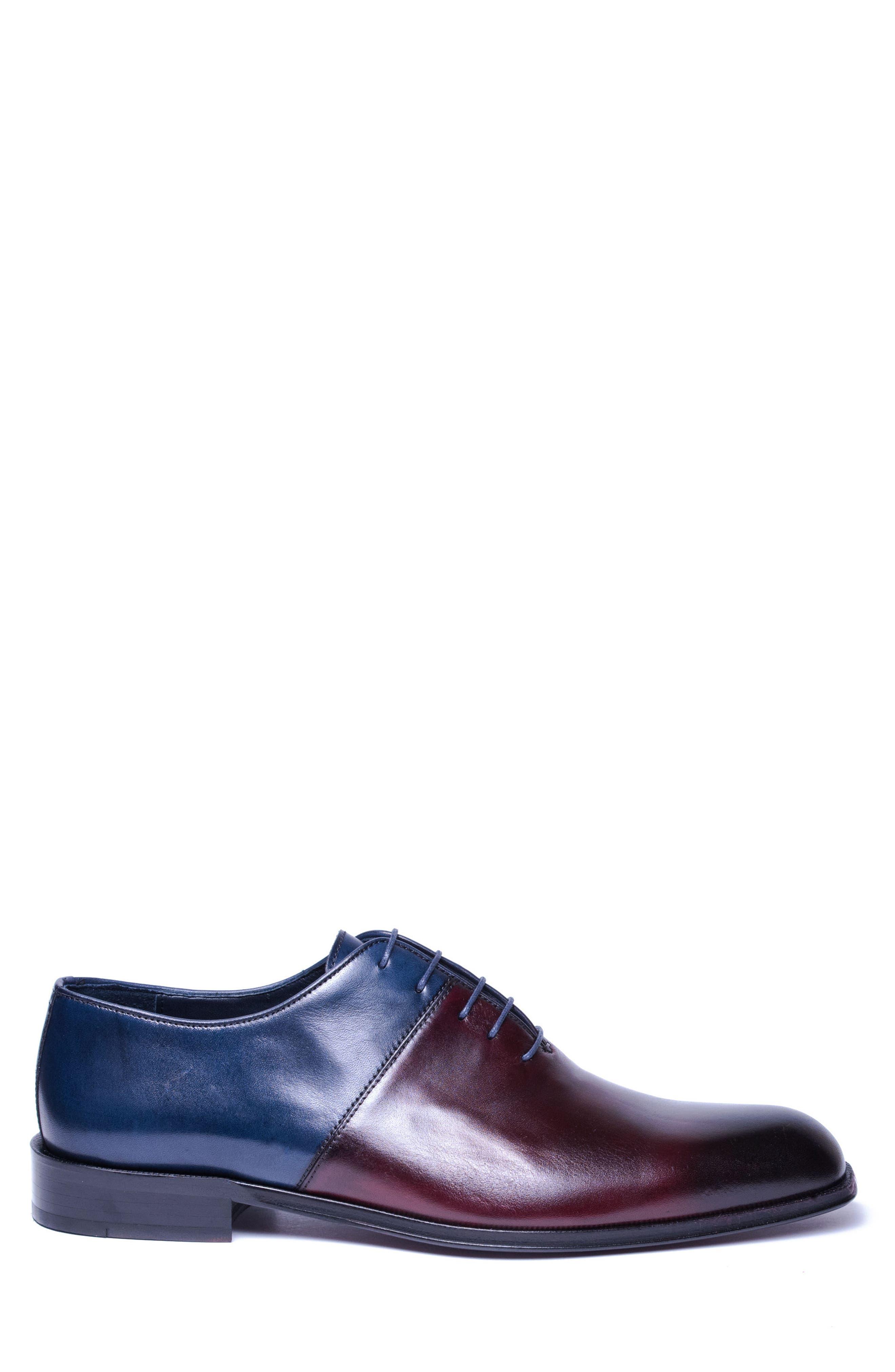 Wyatt Colorblocked Whole Cut Shoe,                             Alternate thumbnail 3, color,                             Burgundy Leather