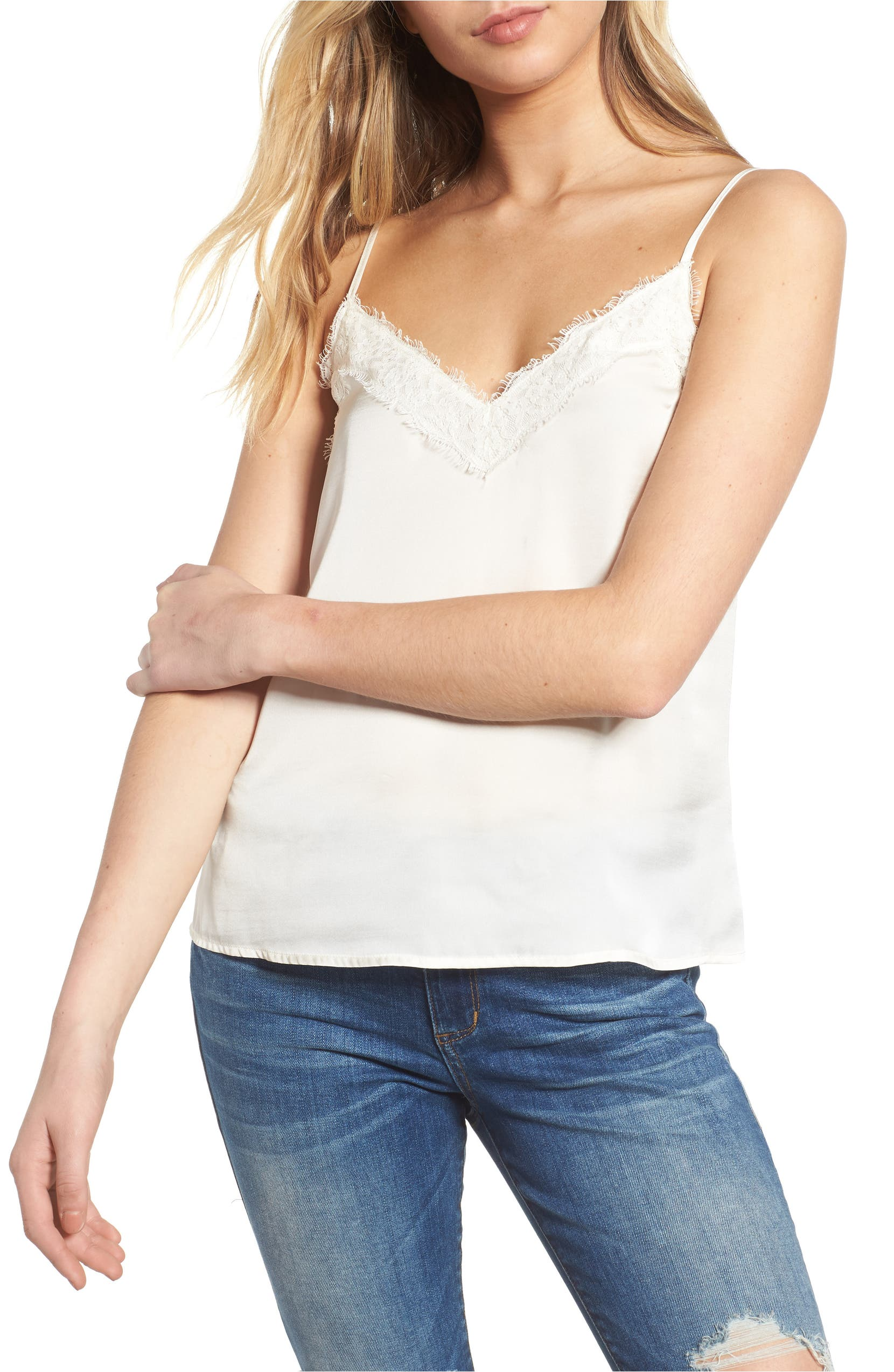 Lace Trim Satin Camisole,                         Main,                         color, Ivory