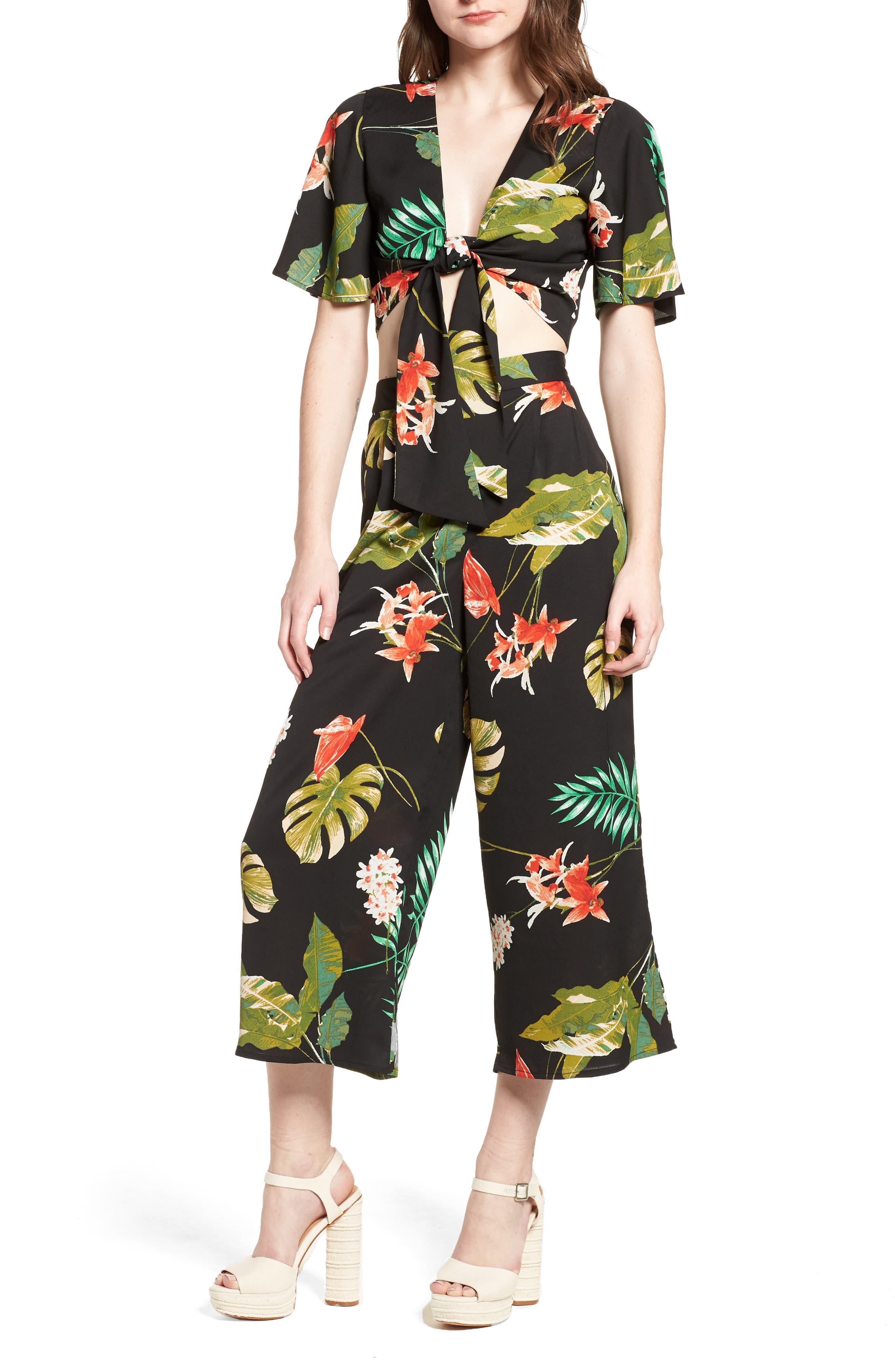 Tropical Print Culottes,                             Alternate thumbnail 2, color,                             Black Multi