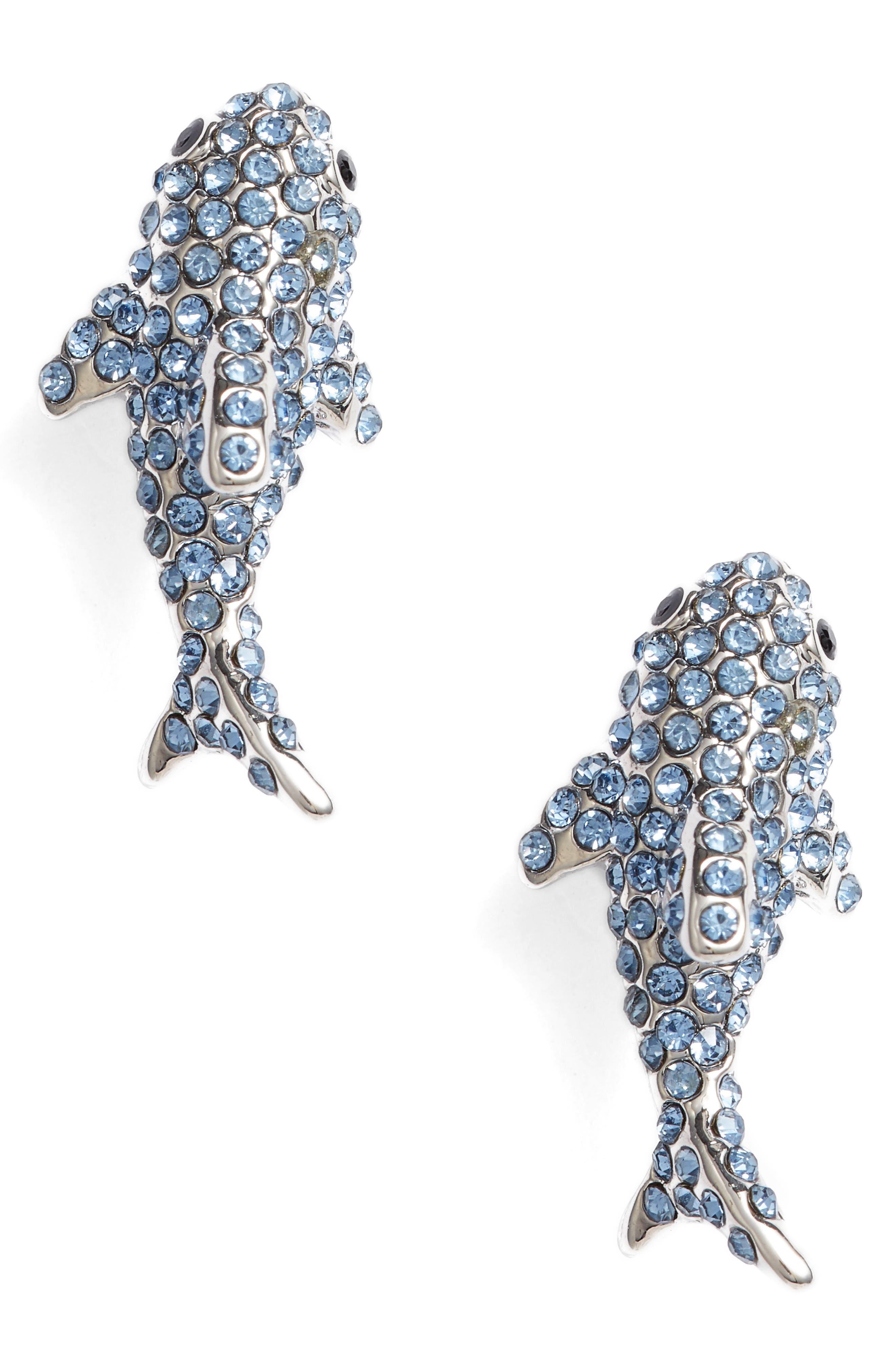 california dreaming pavé shark earrings,                             Main thumbnail 1, color,                             Blue Multi