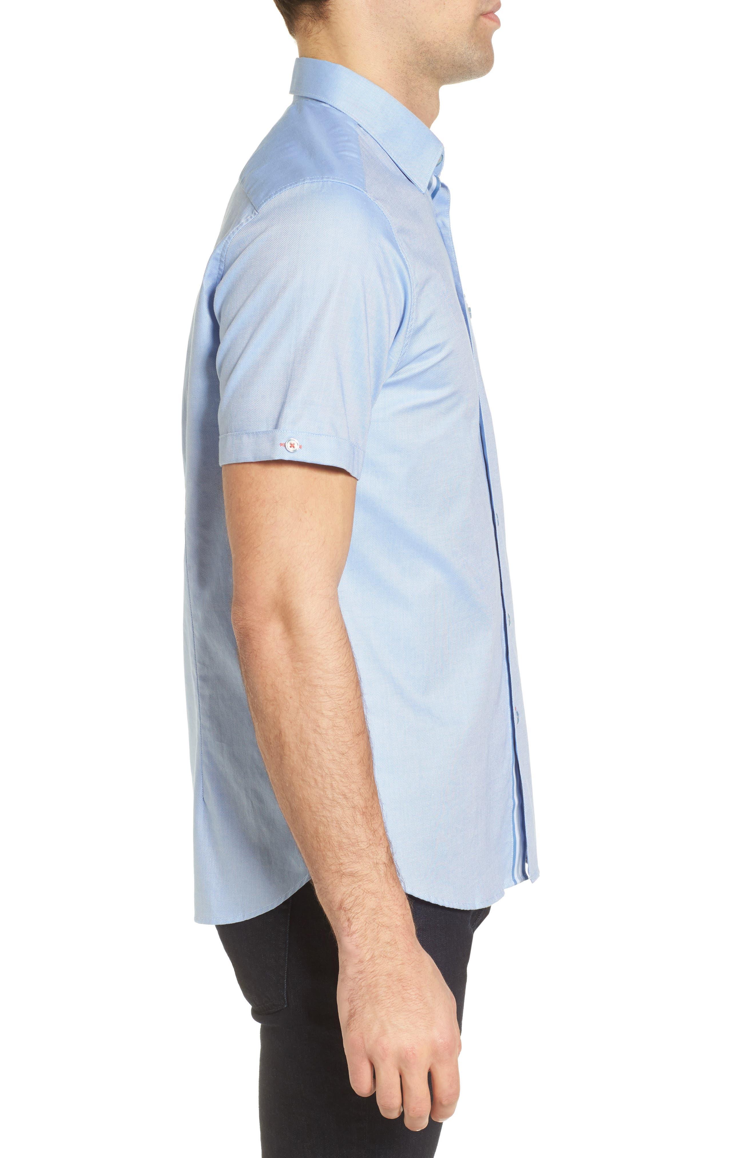 Wallott Extra Slim Fit Short Sleeve Sport Shirt,                             Alternate thumbnail 4, color,                             Blue
