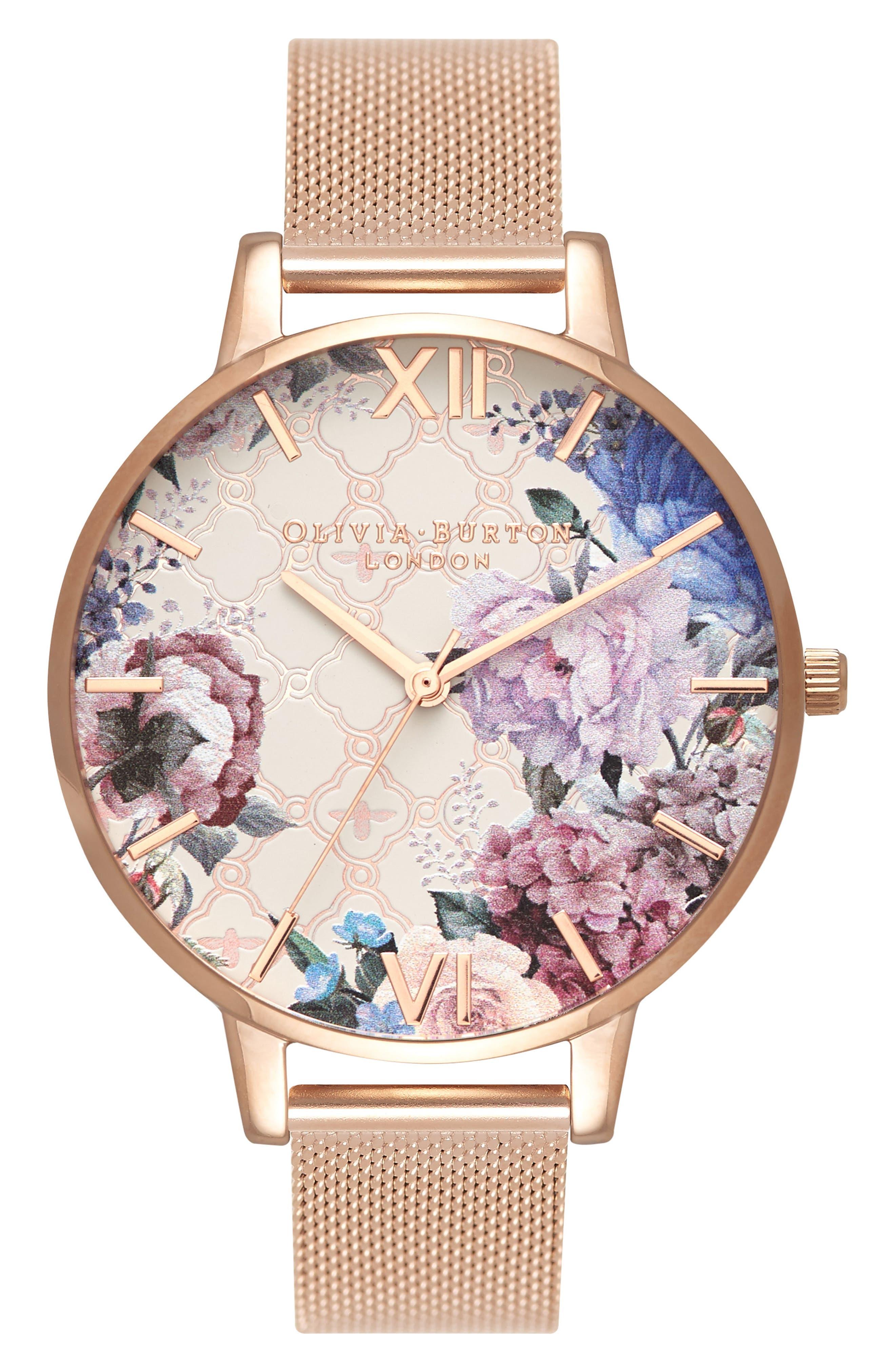 Glasshouse Mesh Strap Watch, 38mm,                         Main,                         color, Rose Gold/ Floral/ Rose Gold