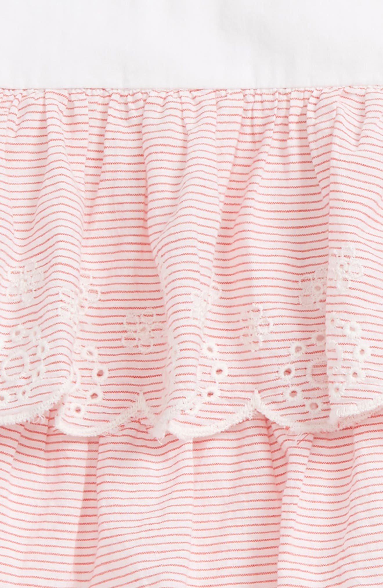 Tiered Woven Dress,                             Alternate thumbnail 2, color,                             White- Red Stripe