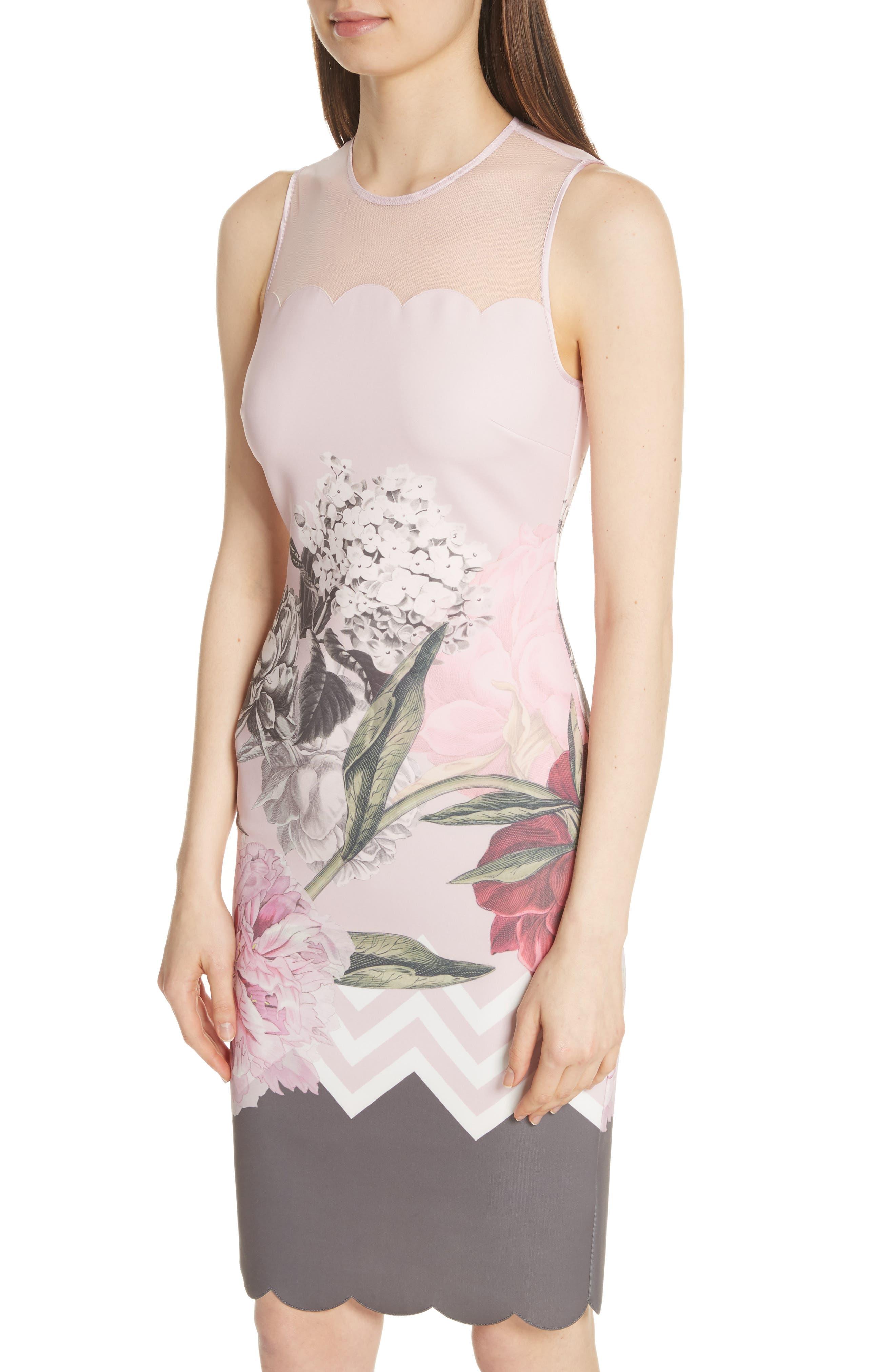 Palace Gardens Body-Con Dress,                             Alternate thumbnail 4, color,                             Dusky Pink