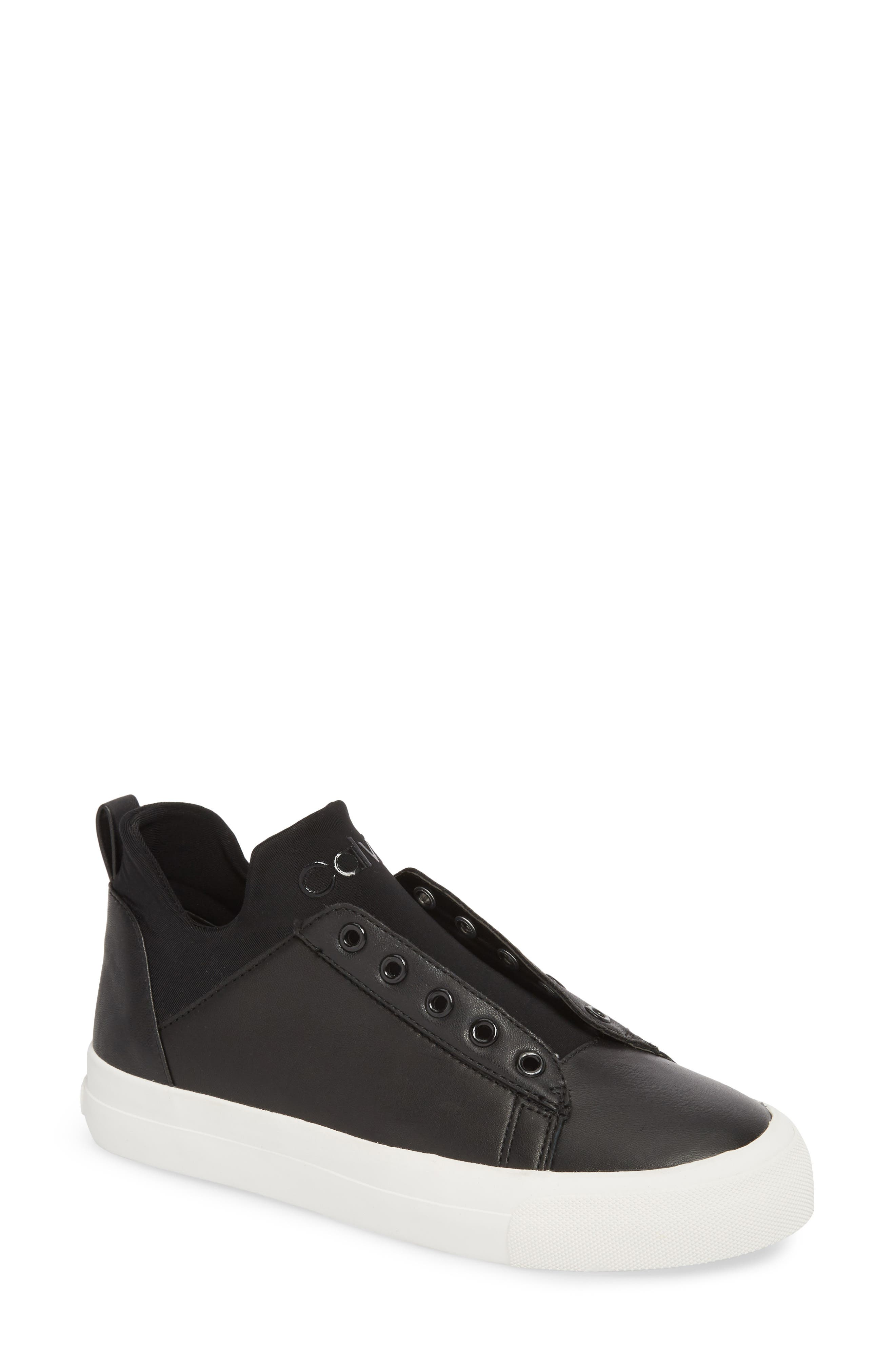 Valorie Mid Top Sneaker,                         Main,                         color, Black Leather