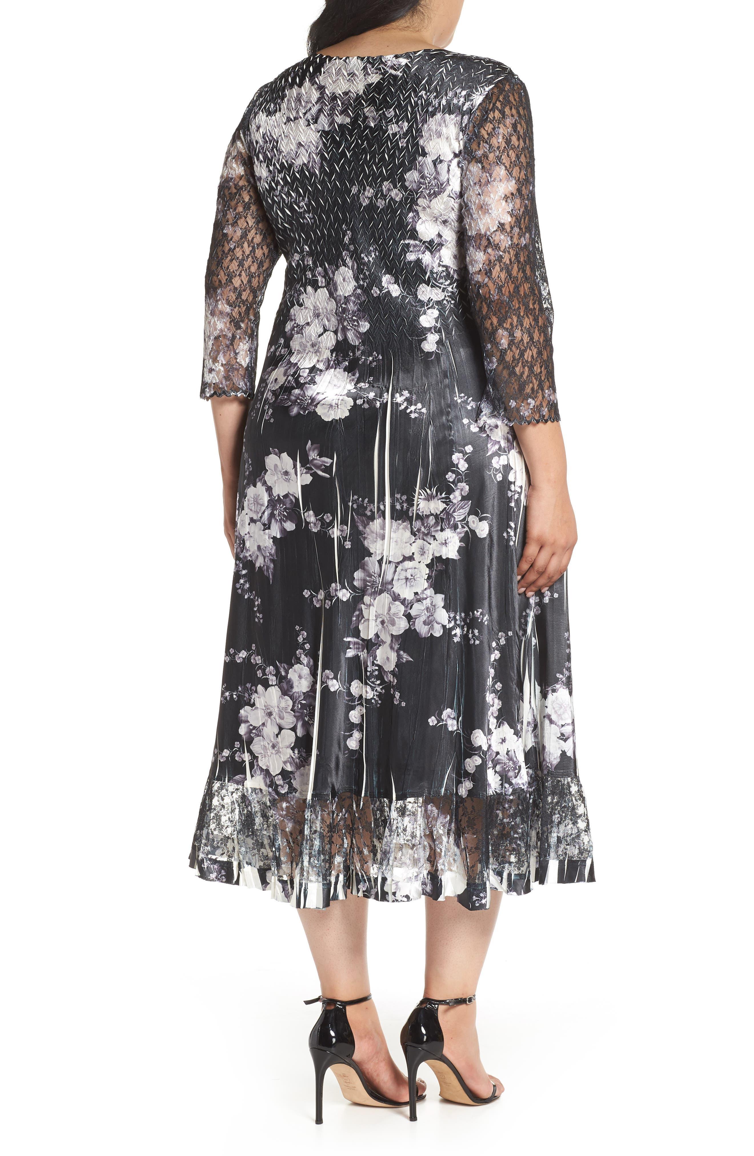 Lace & Charmeuse A-Line Dress,                             Alternate thumbnail 2, color,                             Eclipse Meadow