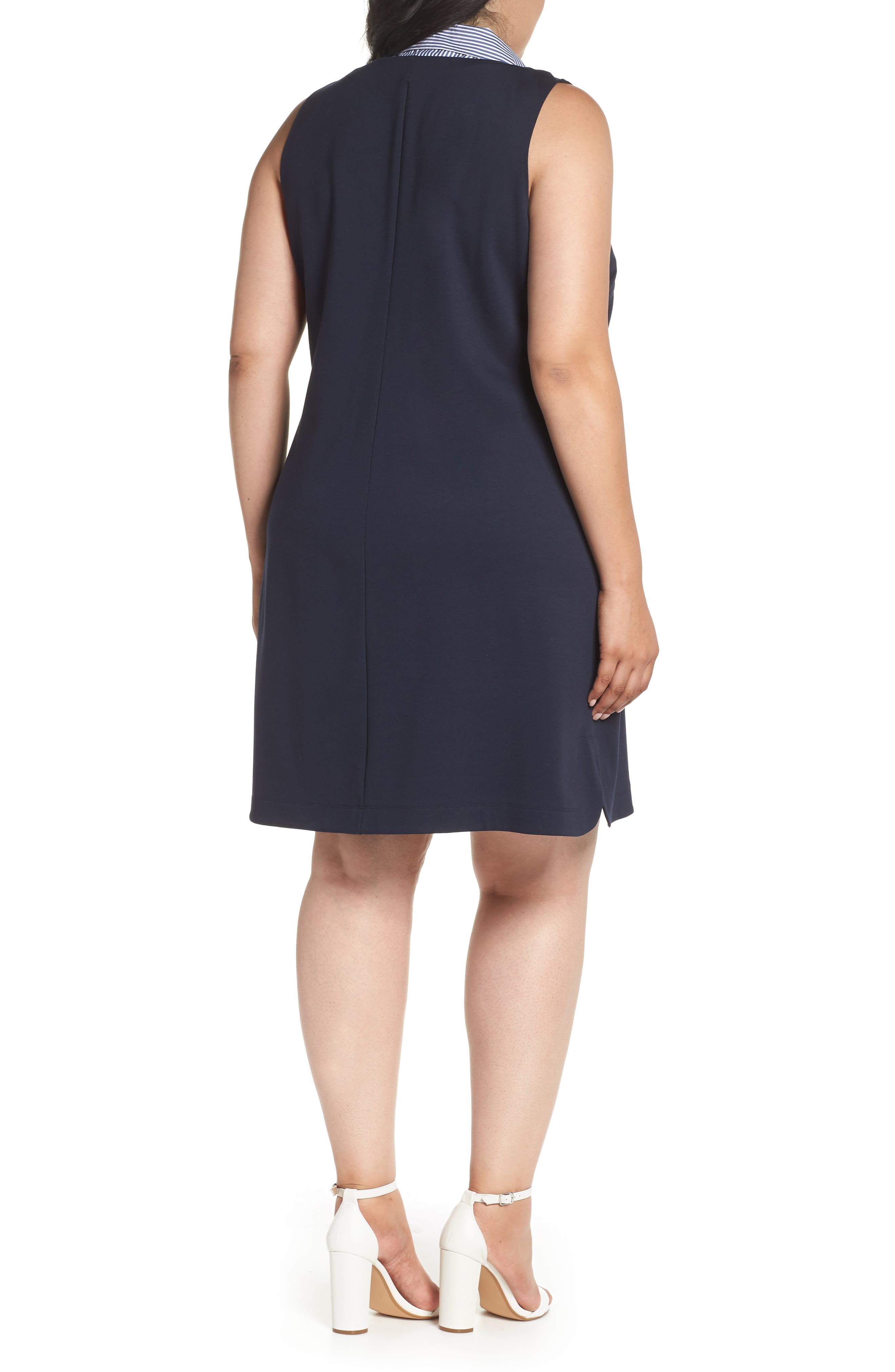 Poplin Collar Knit Dress,                             Alternate thumbnail 2, color,                             Navy