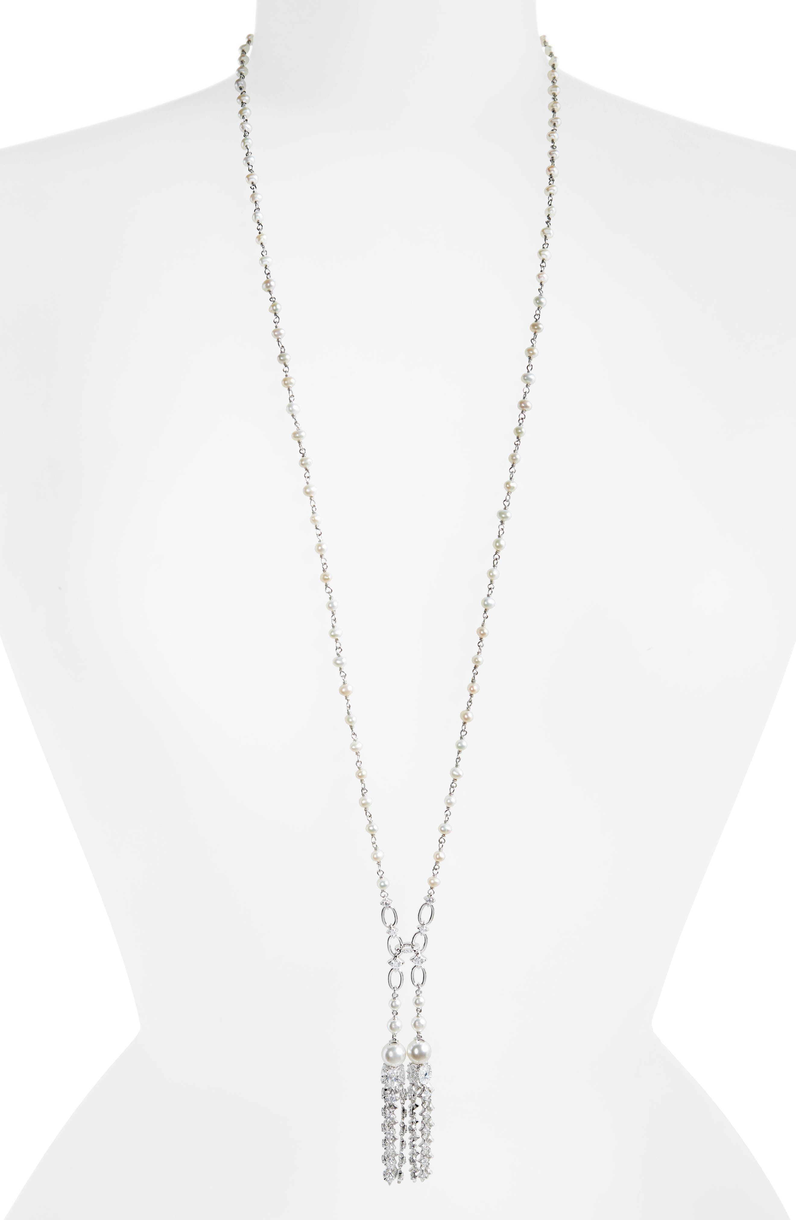 Pearl Tassel Necklace,                         Main,                         color, Silver/ White Pearl