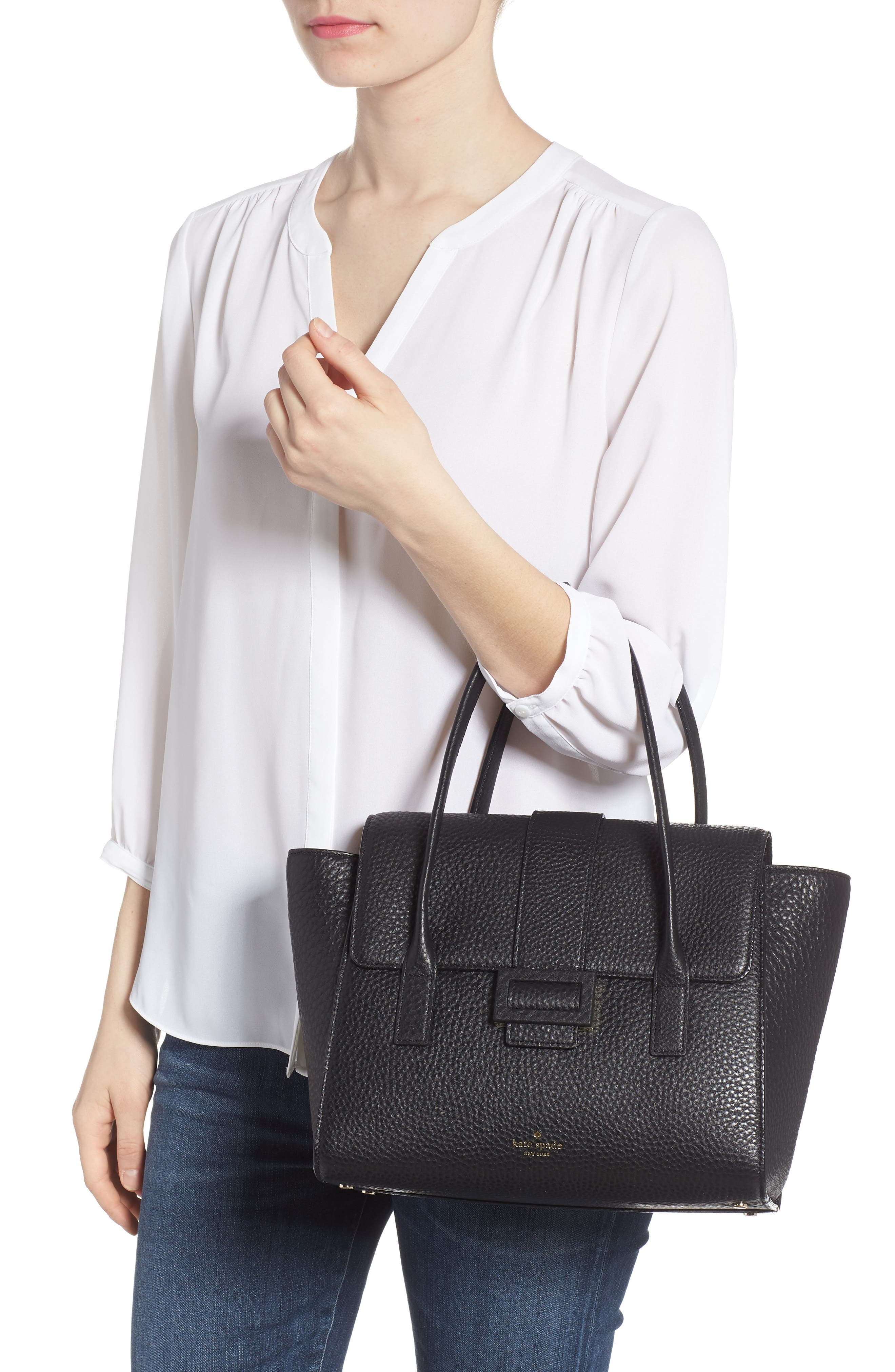 carlyle street - alexa leather satchel,                             Alternate thumbnail 2, color,                             Black