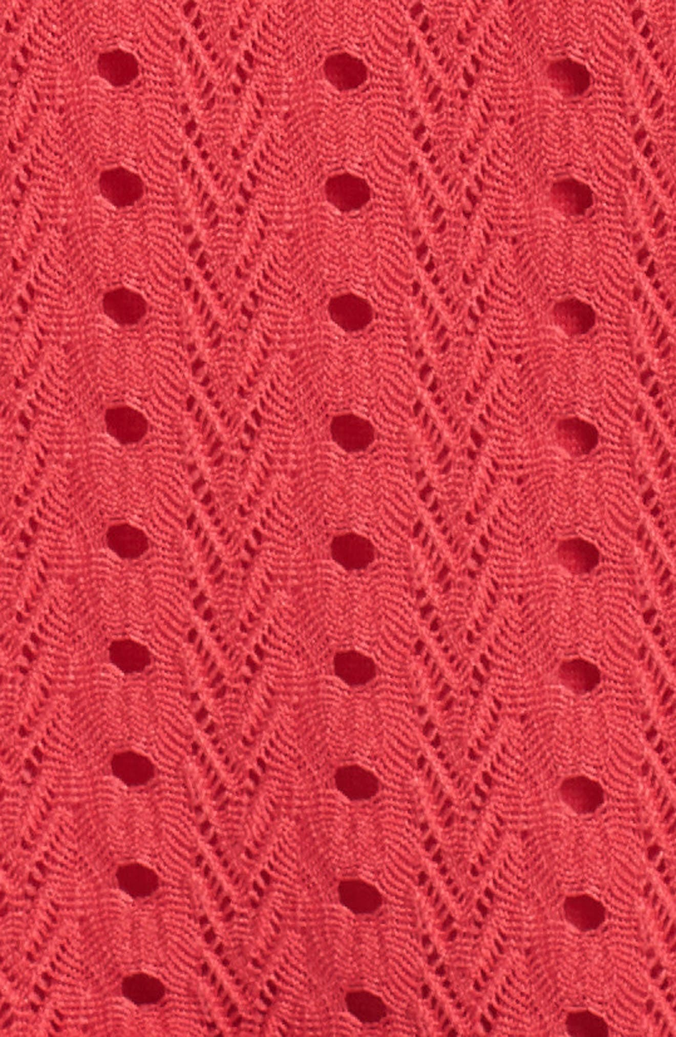 Sleeveless Ruffle Knit Sheath Dress,                             Alternate thumbnail 6, color,                             Pink Rose