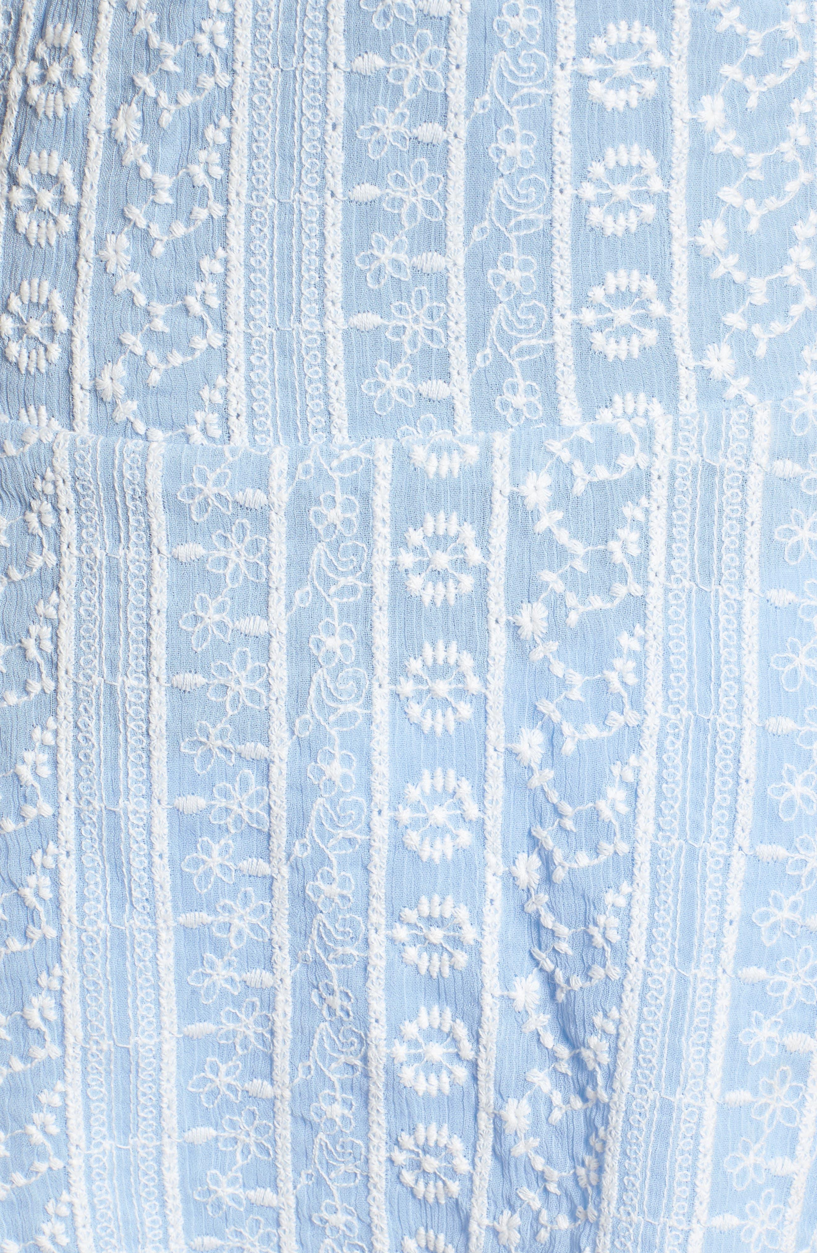 Brian Embroidered Peplum Tank,                             Alternate thumbnail 6, color,                             Kentucky Blue