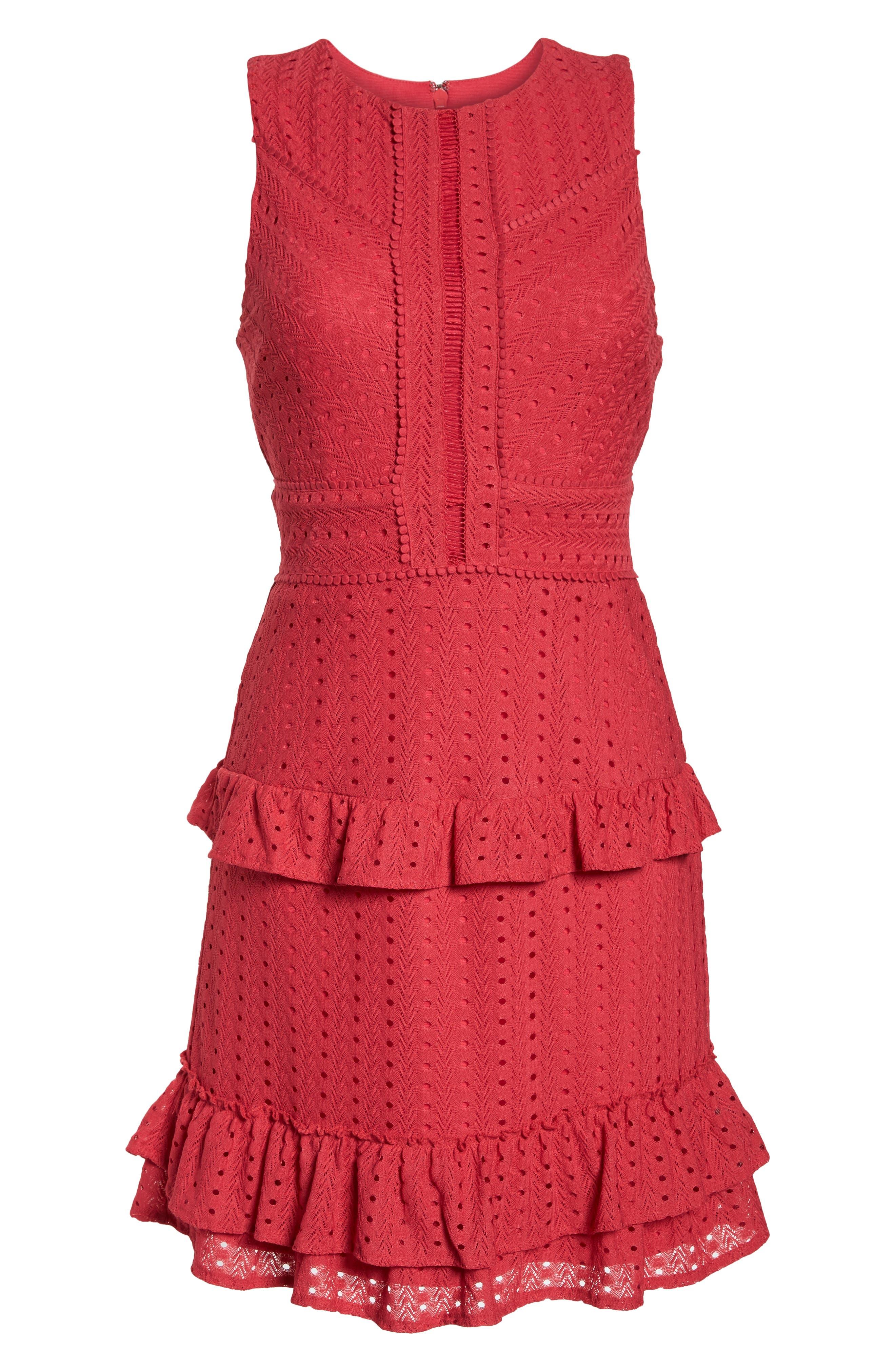 Sleeveless Ruffle Knit Sheath Dress,                             Alternate thumbnail 7, color,                             Pink Rose