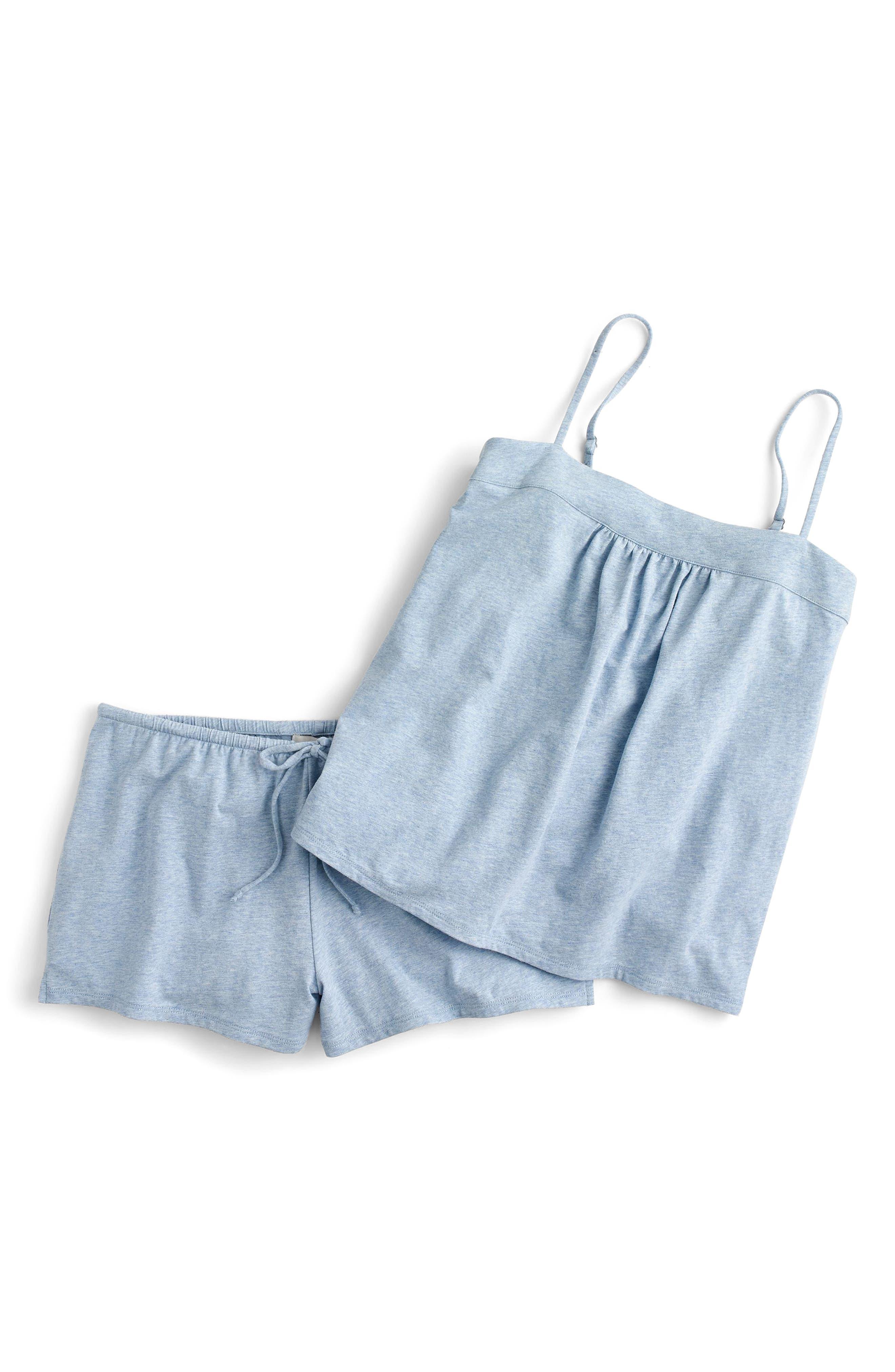 Dreamy Pajama Shorts Set,                             Main thumbnail 1, color,                             Heather Blue